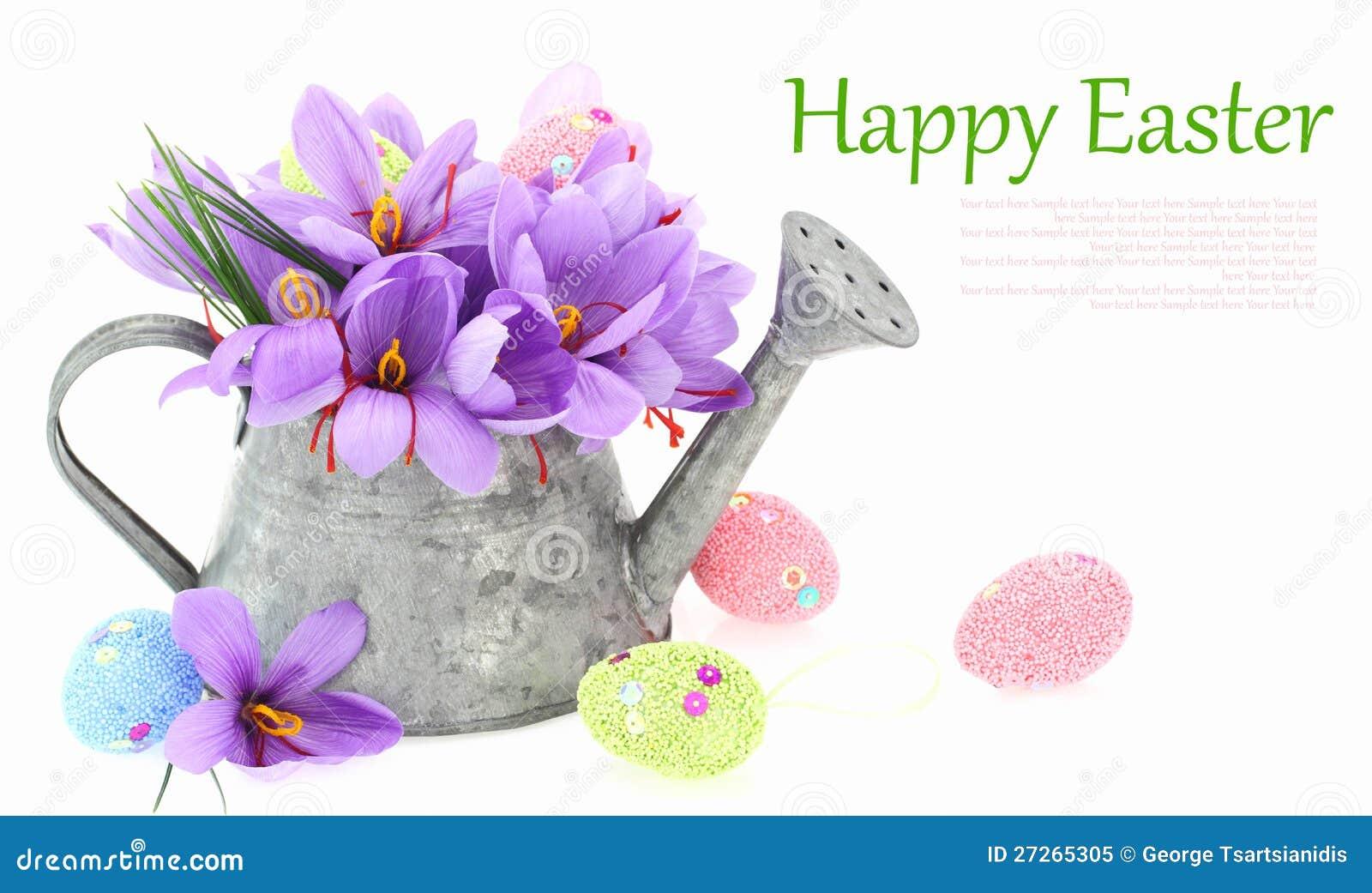 Ovos de Easter e flores do aç6frão