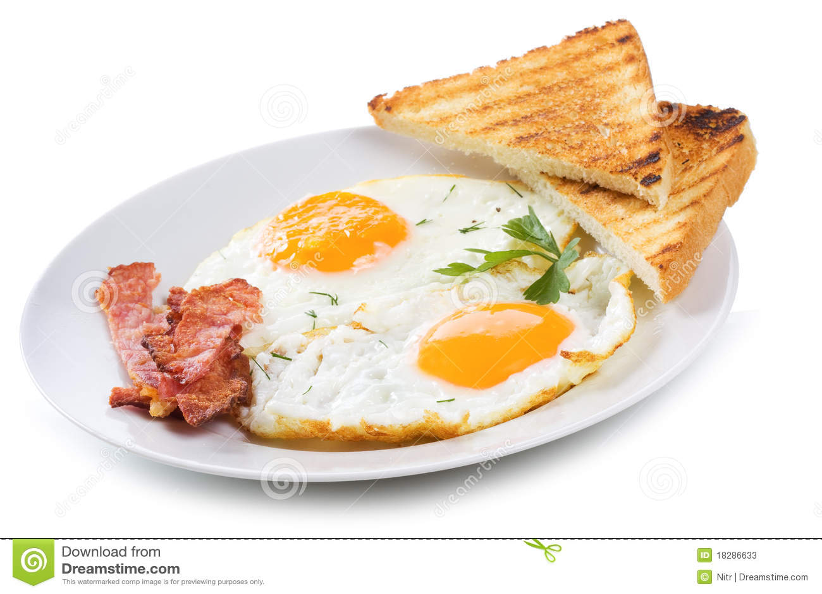 Ovos fritados com bacon e brindes