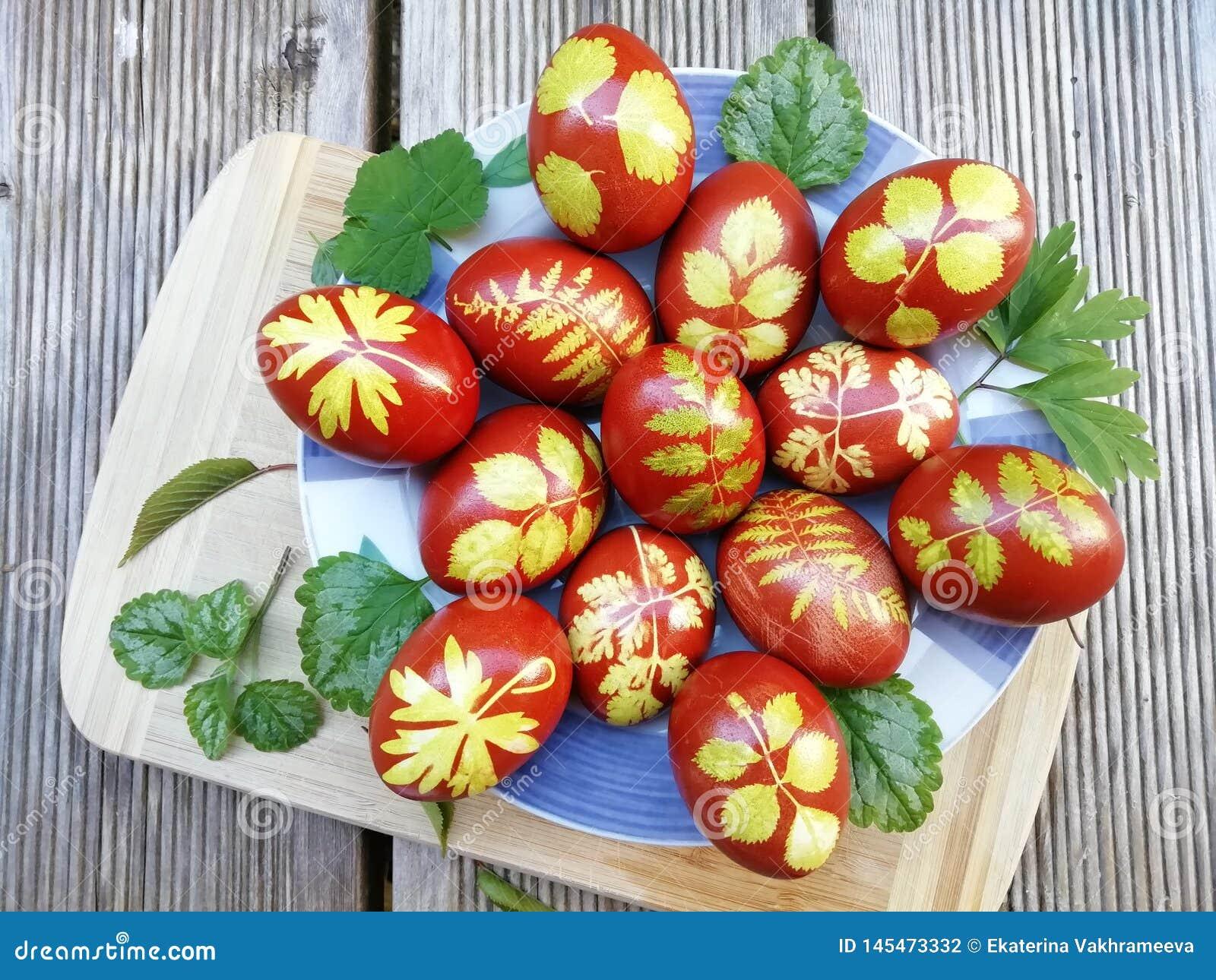 Ovos pintados na casca da cebola com ervas Ovos da p?scoa em uma placa em uma placa de madeira