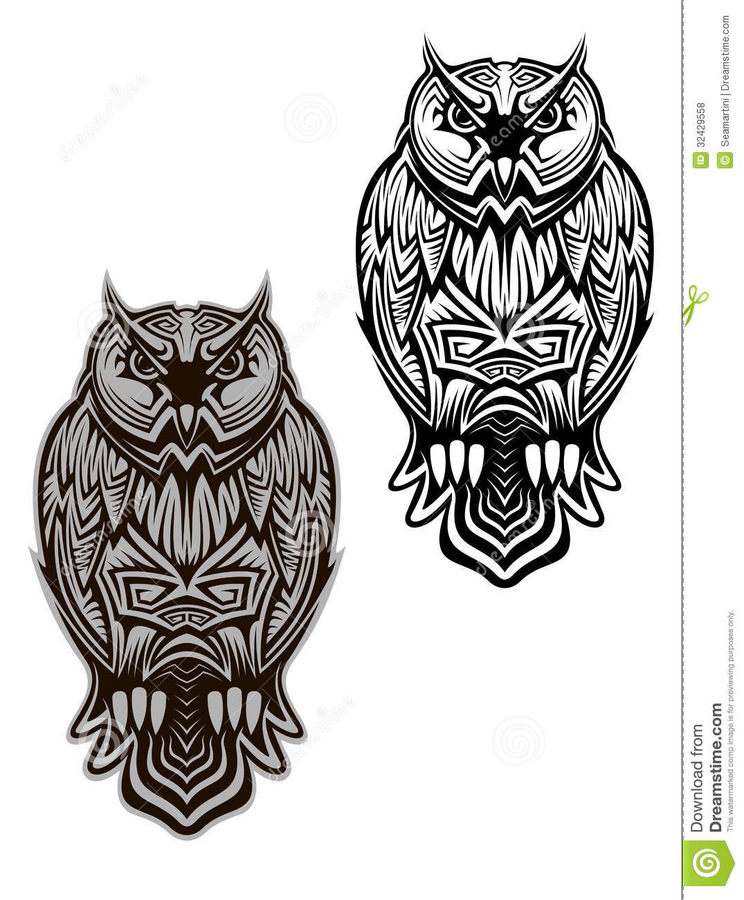 Owl bird tattoo royalty free stock photos image 32429558 for Tribal owl tattoo