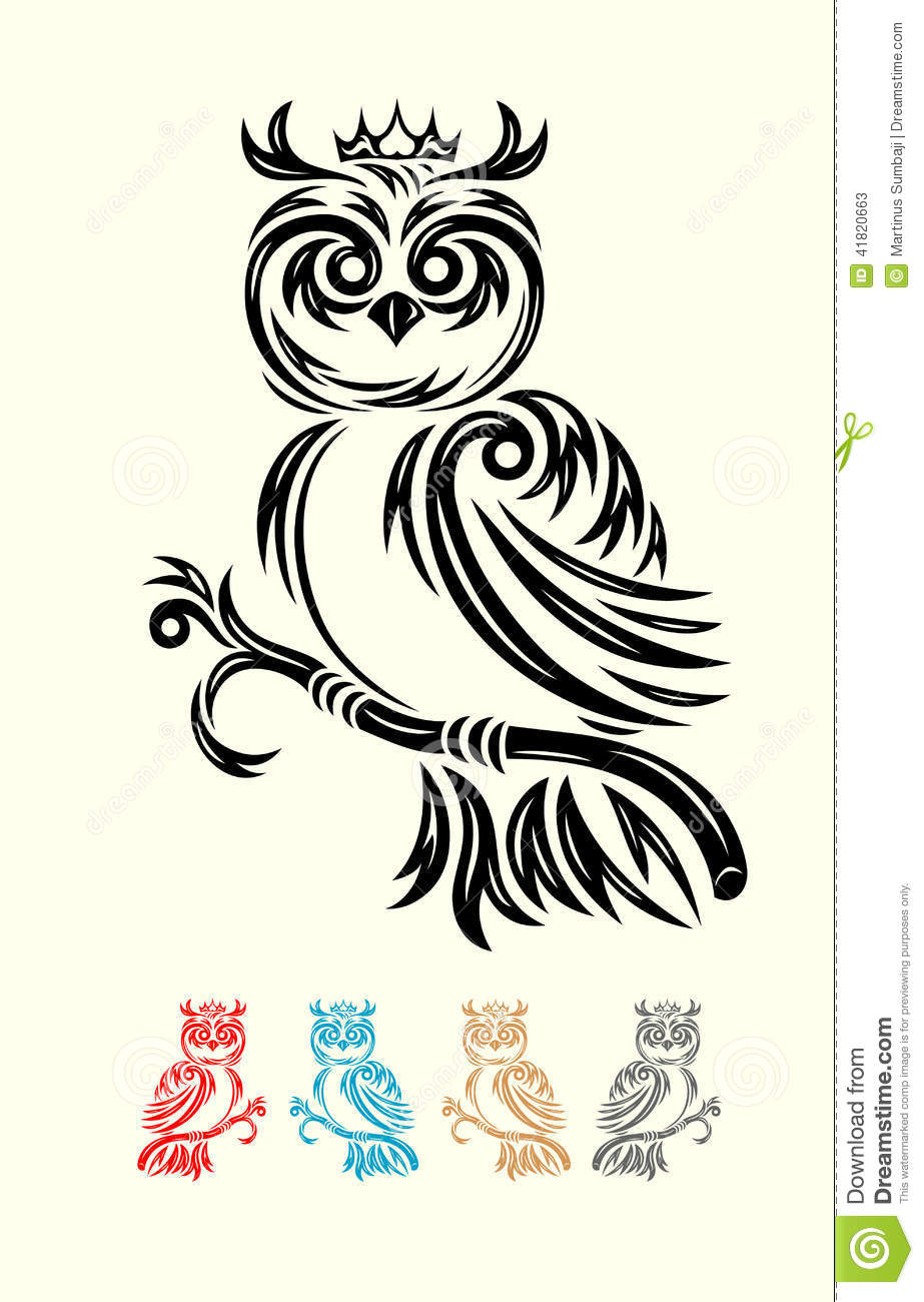 Owl bird tribal stock vector. Image of clip, shapes ...