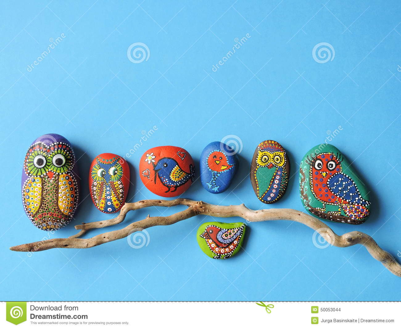Owl And Birds Painted On Stones Stock Photo Image Of Face Paint 50053044