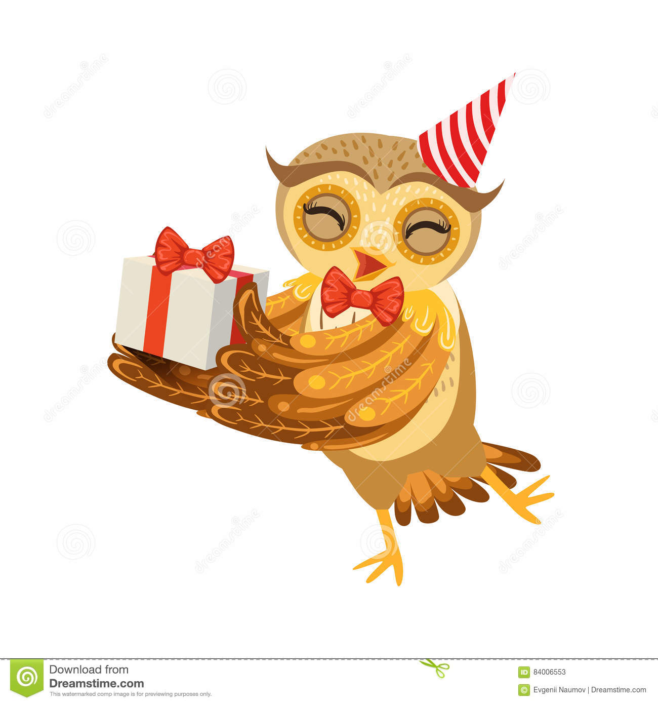 Owl And Birthday Present Cute Cartoon Character Emoji With Forest Bird Showing Human Emotions Behavior