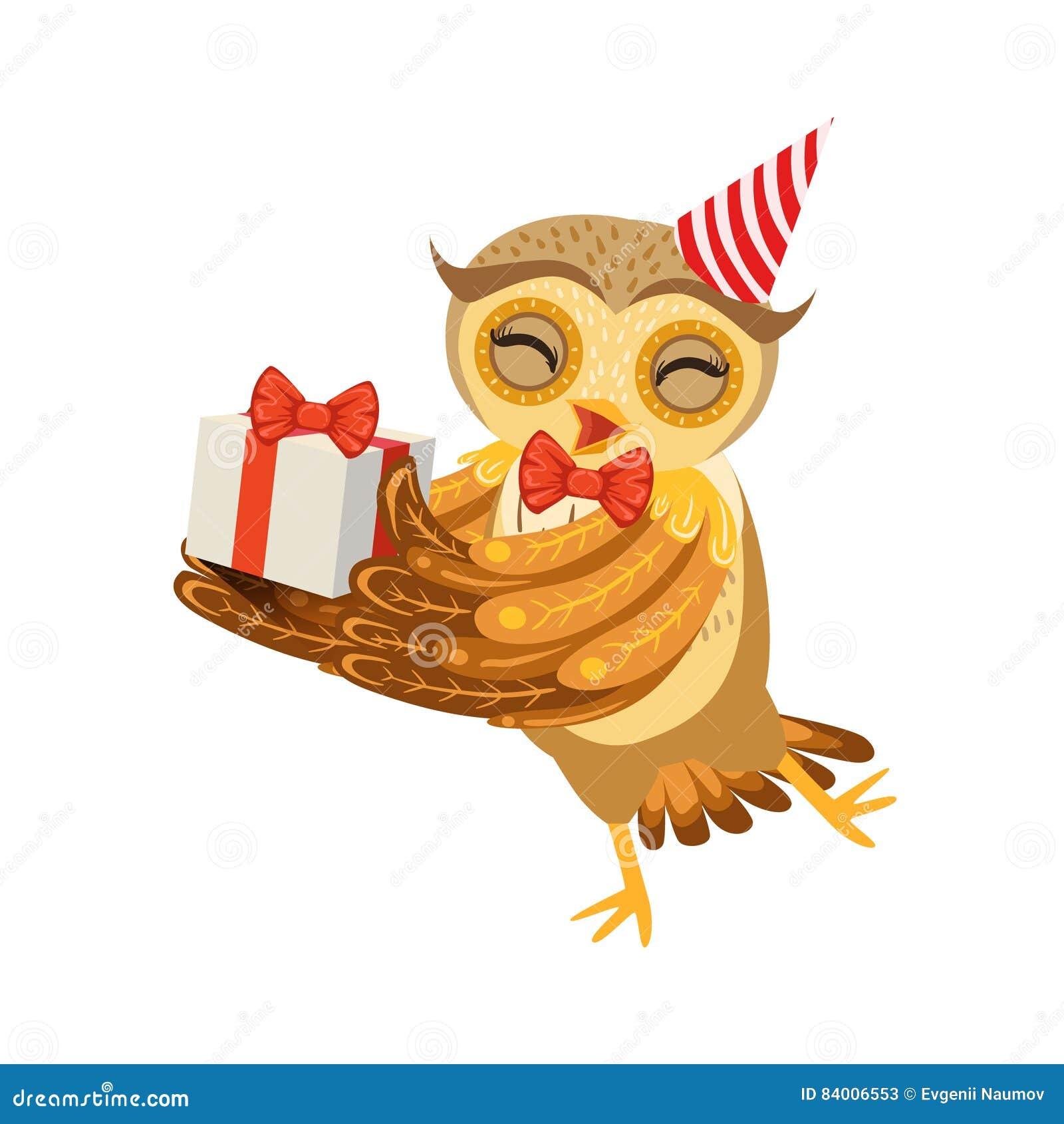 Owl And Birthday Present Cute Zeichentrickfilm Figur Emoji Mit Forest Bird Showing Human Emotions