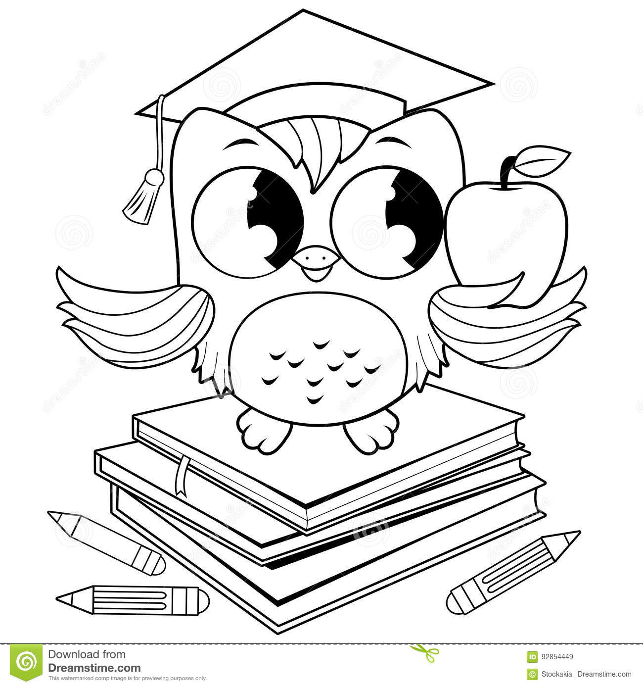 Owl On Books With Graduation Hat Coloring Book Page Stock