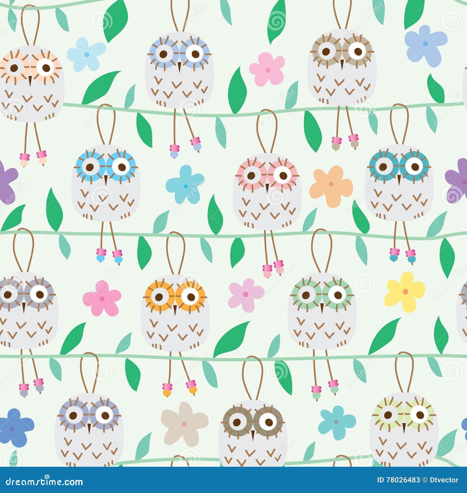 Owl ceramic hang seamless pattern