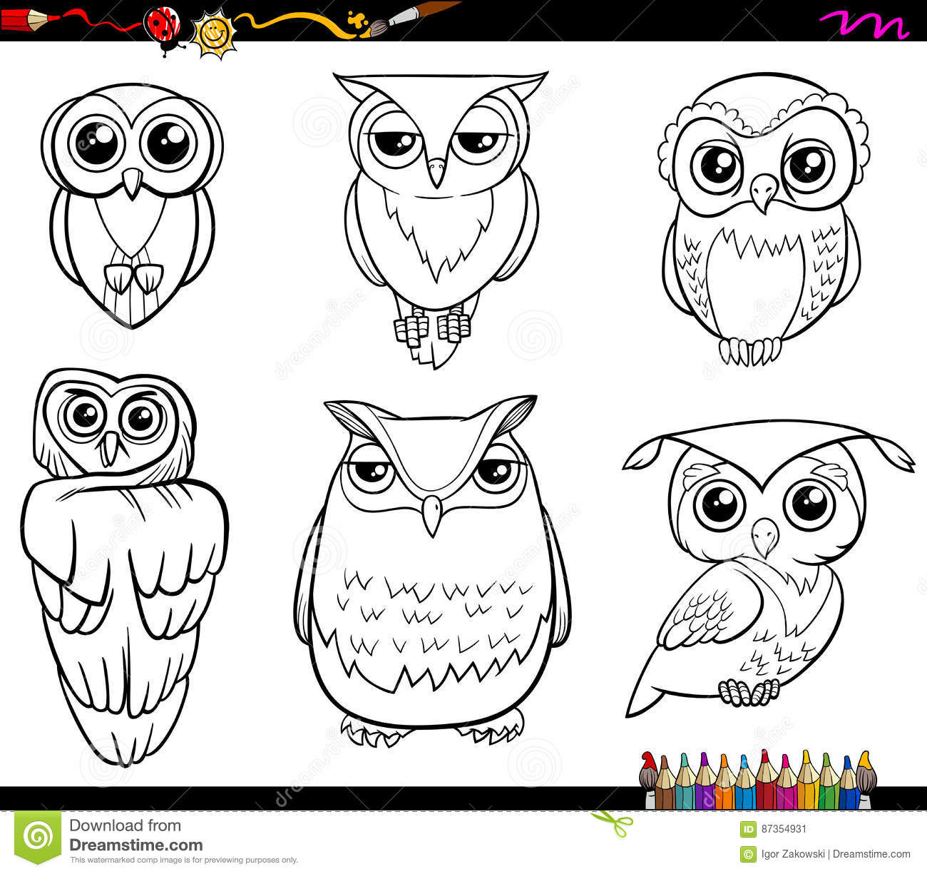 owl characters coloring page black white cartoon illustration birds animal set