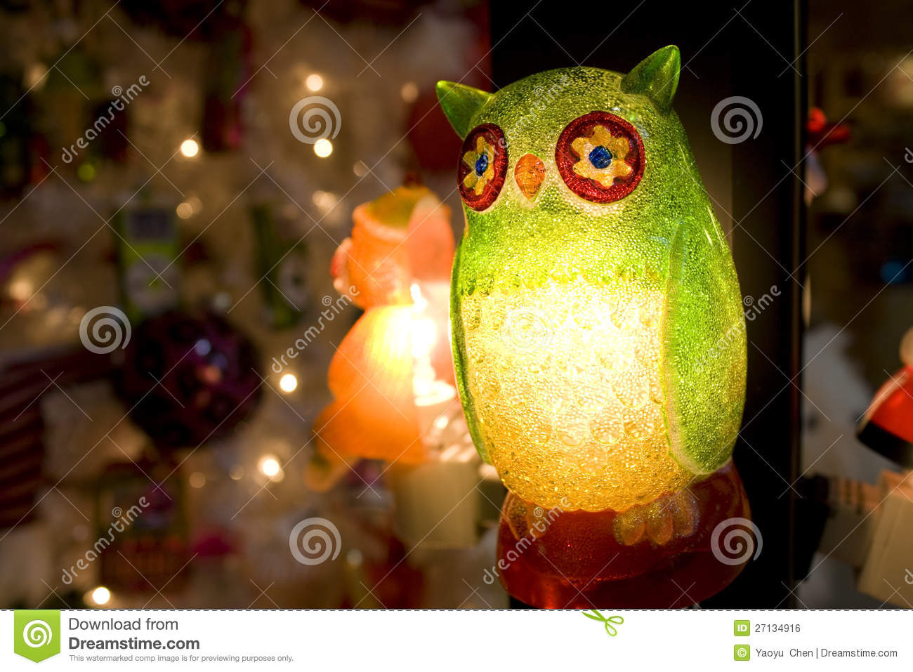 Owl Christmas light stock photo. Image of postcard, home - 27134916