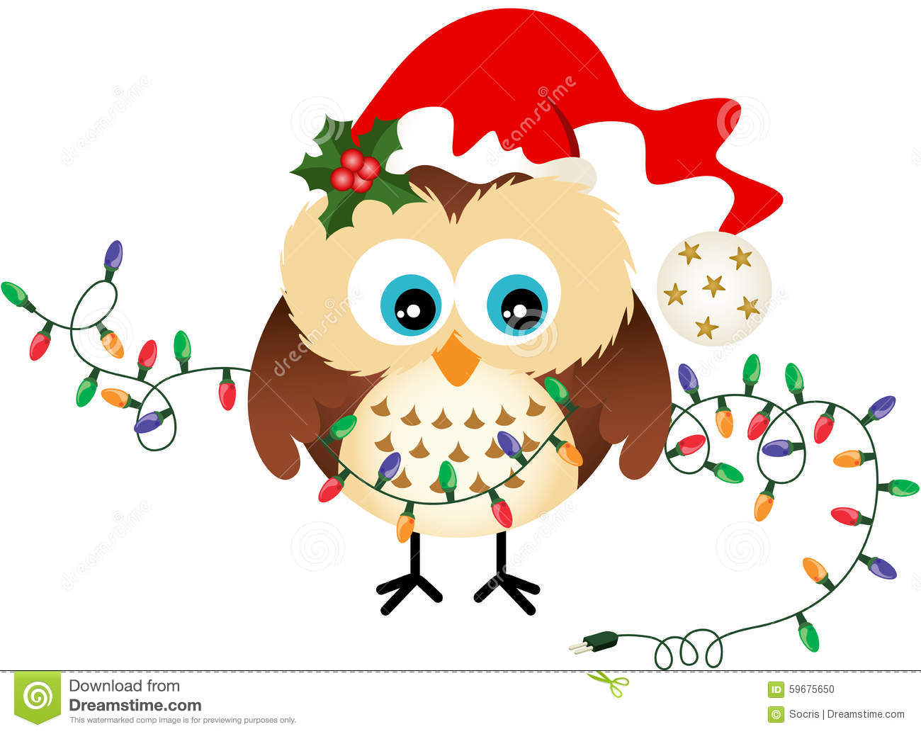 Owl with Christmas Lights stock vector. Illustration of december ...