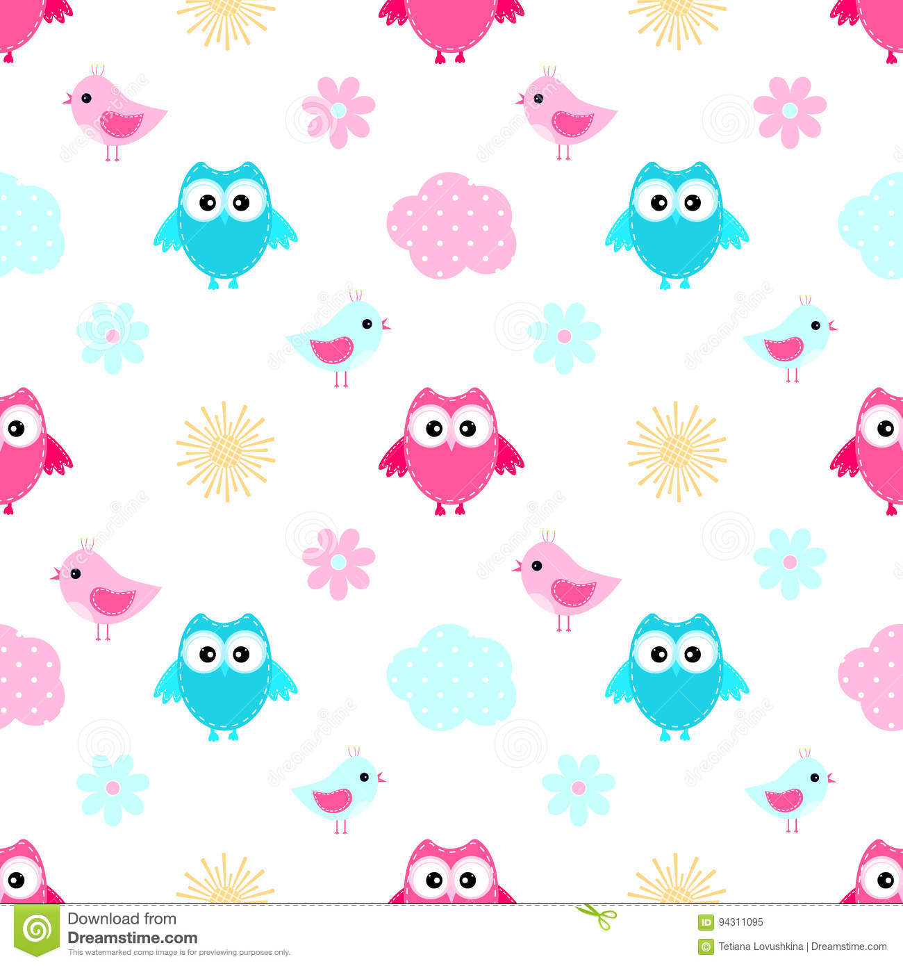 Owl cloud seamless pattern