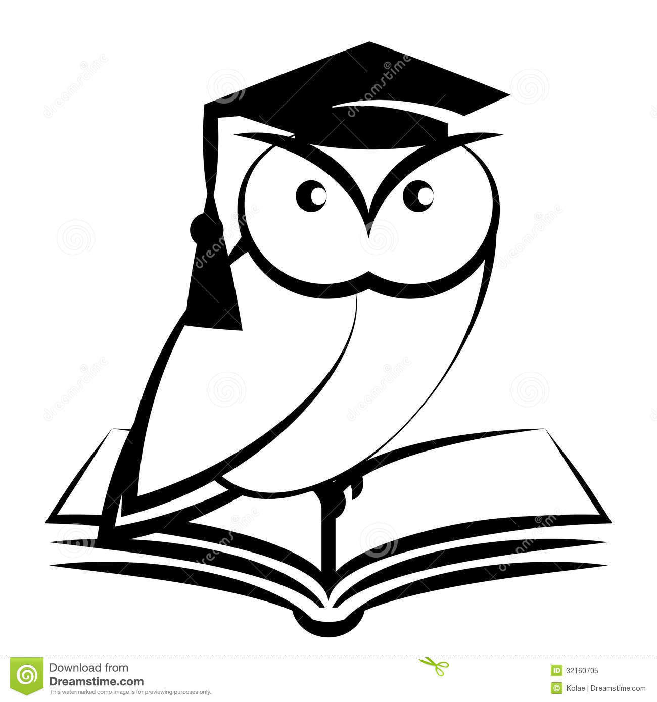 Owl with college hat and book - symbol of wisdom isolated on white ...