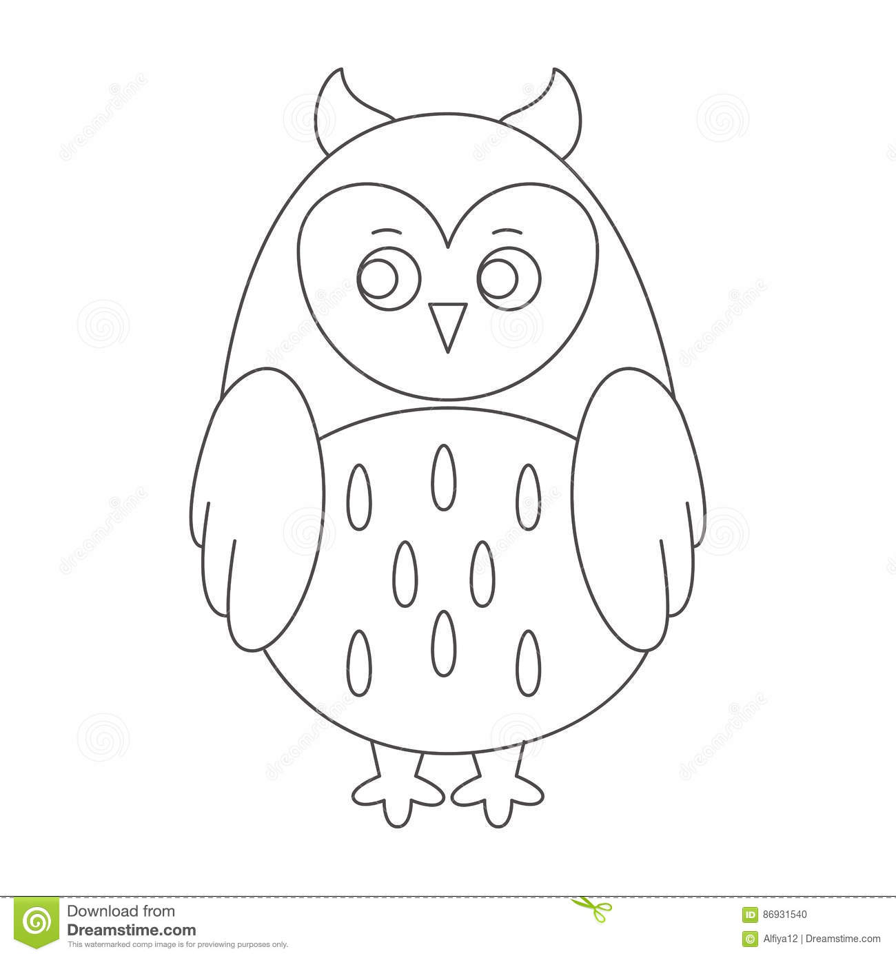 Owl for coloring book stock vector. Illustration of sketch - 86931540