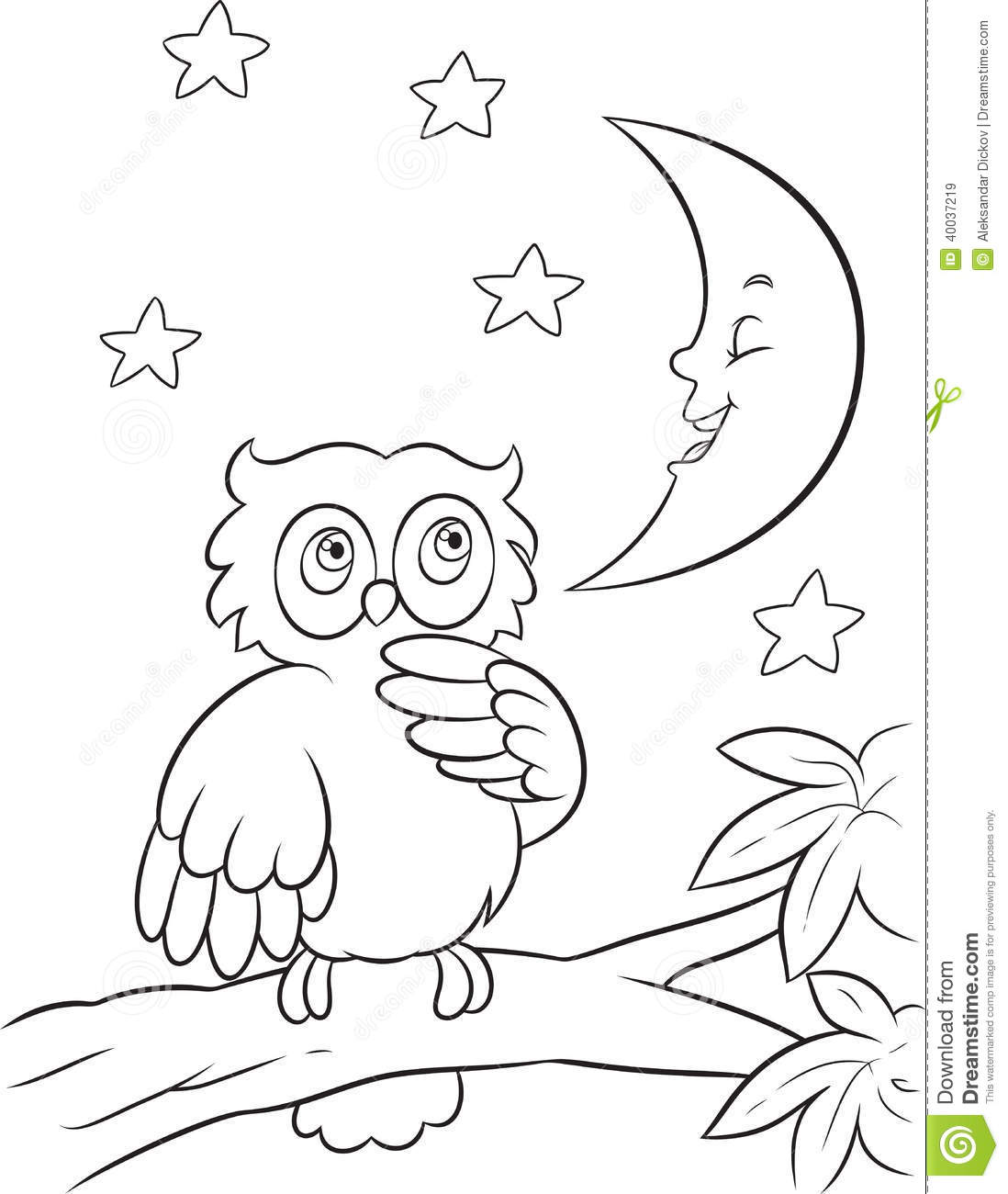 Owl Coloring Page Stock Vector Illustration Of Moon 40037219