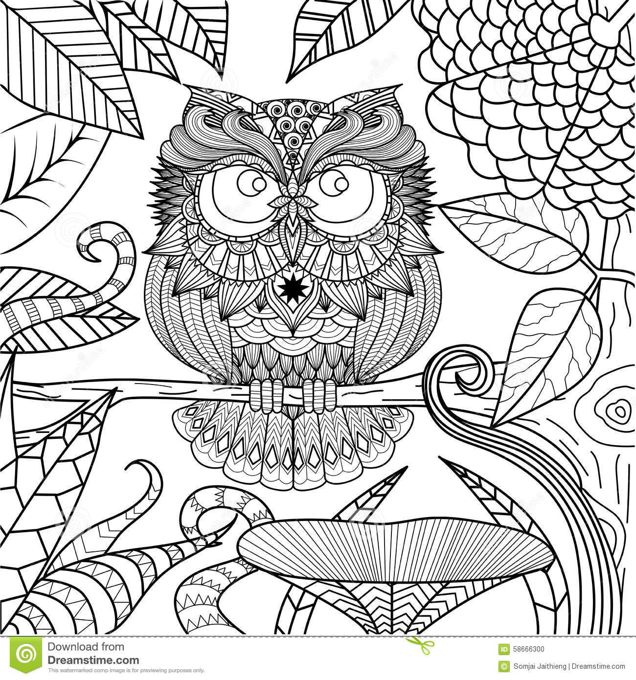 owl drawing for coloring book - Drawing Coloring