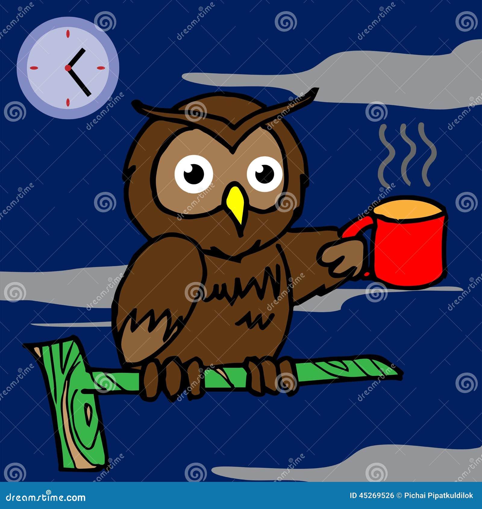 Owl drinking coffee and cant sleep