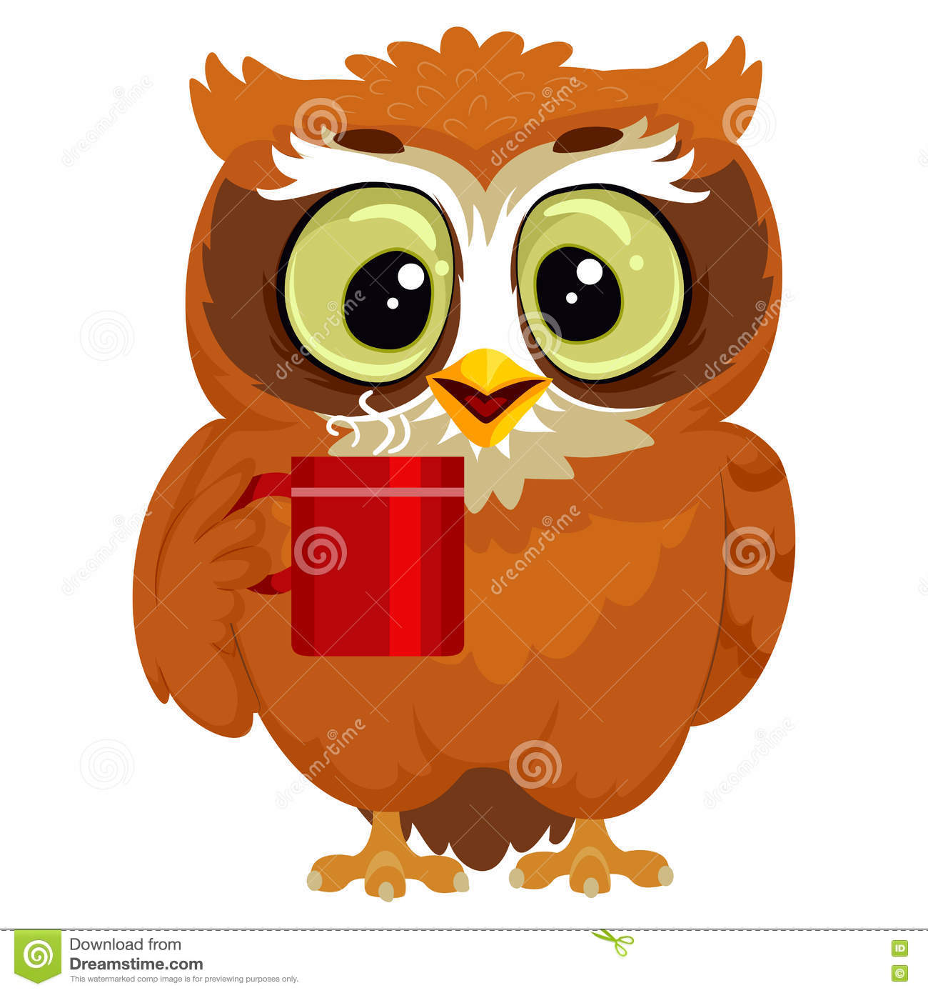 Owl drinking a cup of coffee