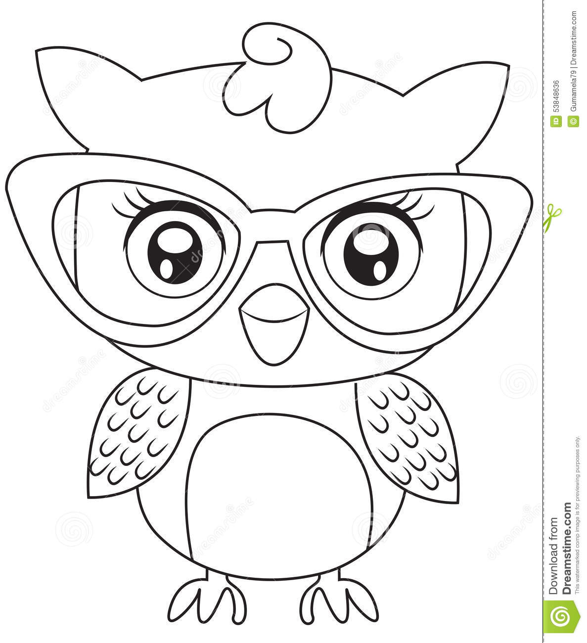 royalty free stock image  owl with eyeglasses coloring page  image  53848636