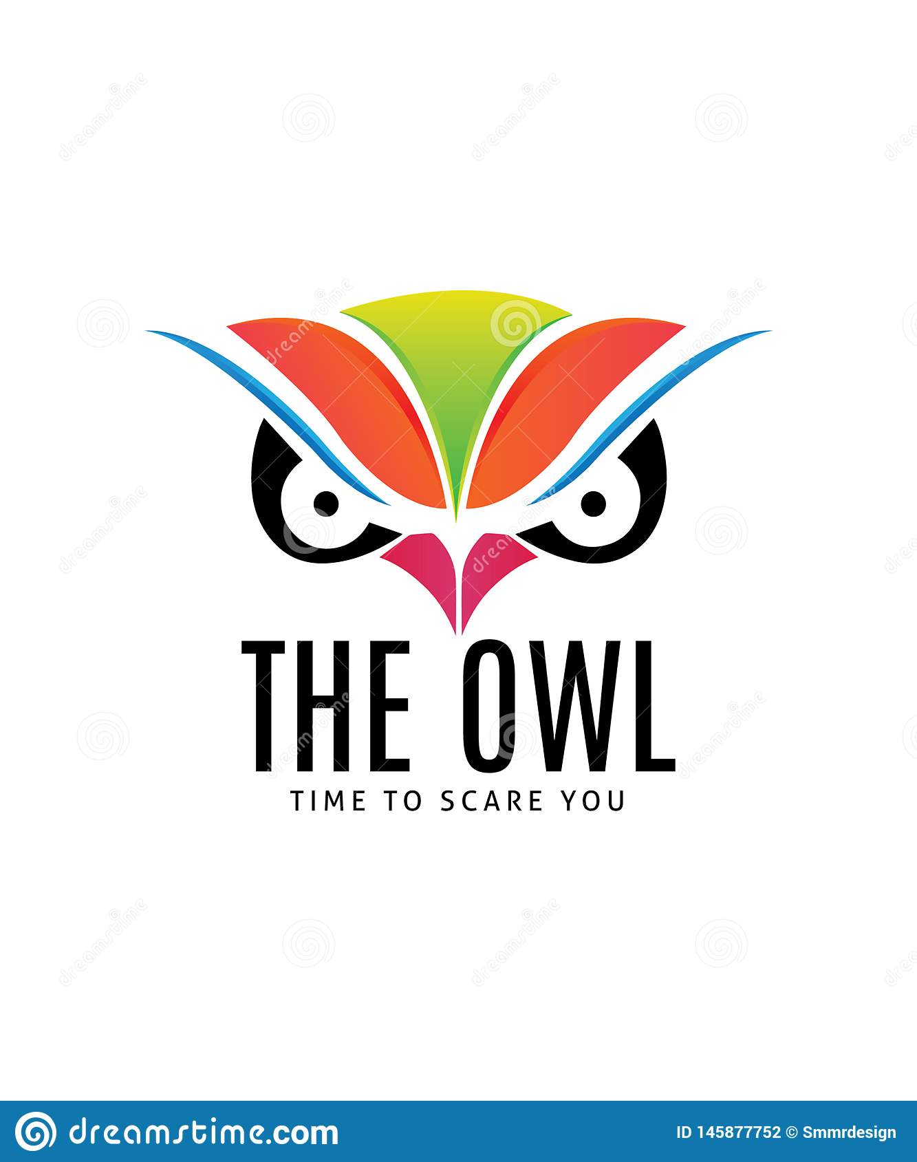 Owl Face Illustration Logo Template