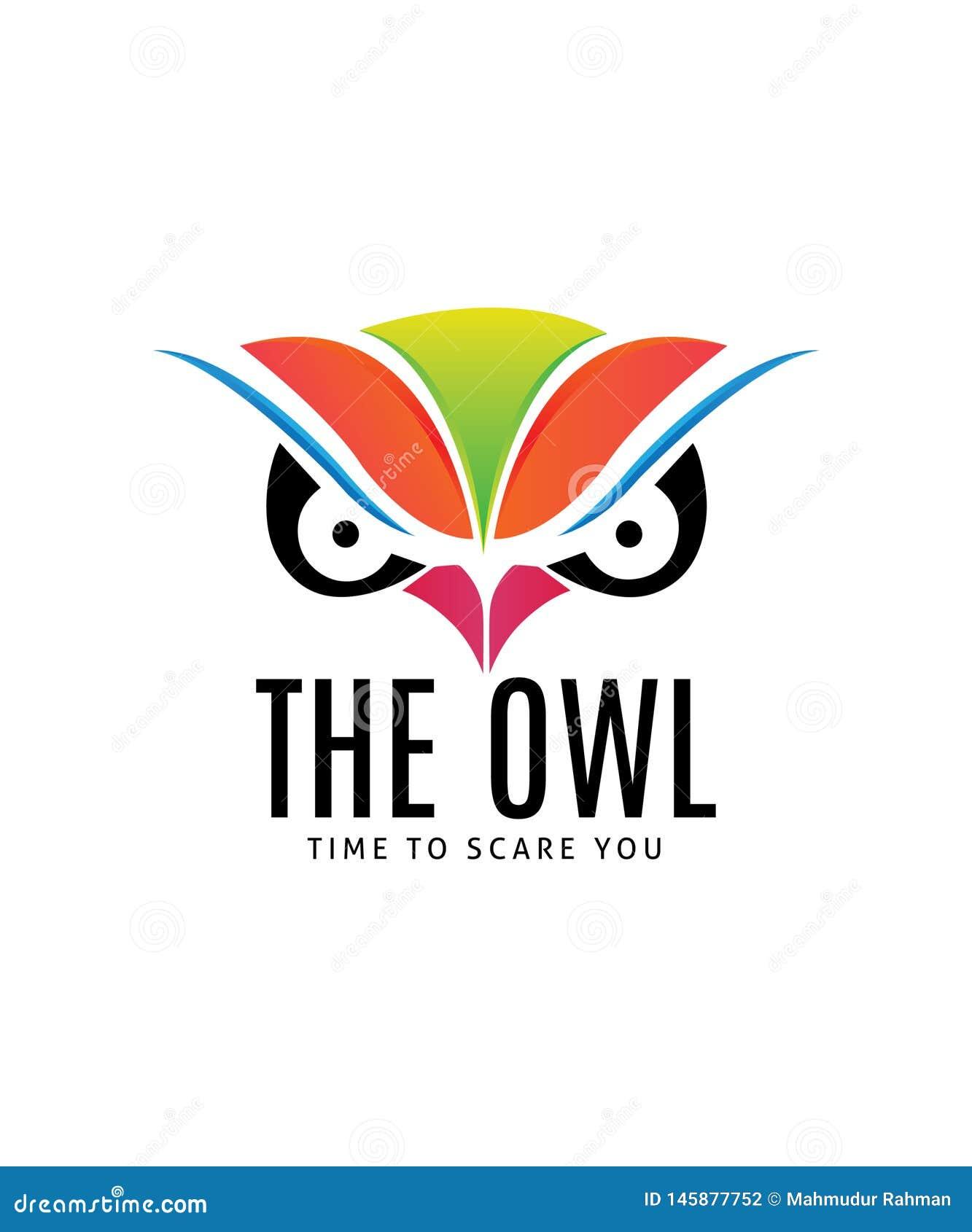 Owl Face Illustration Logo Template
