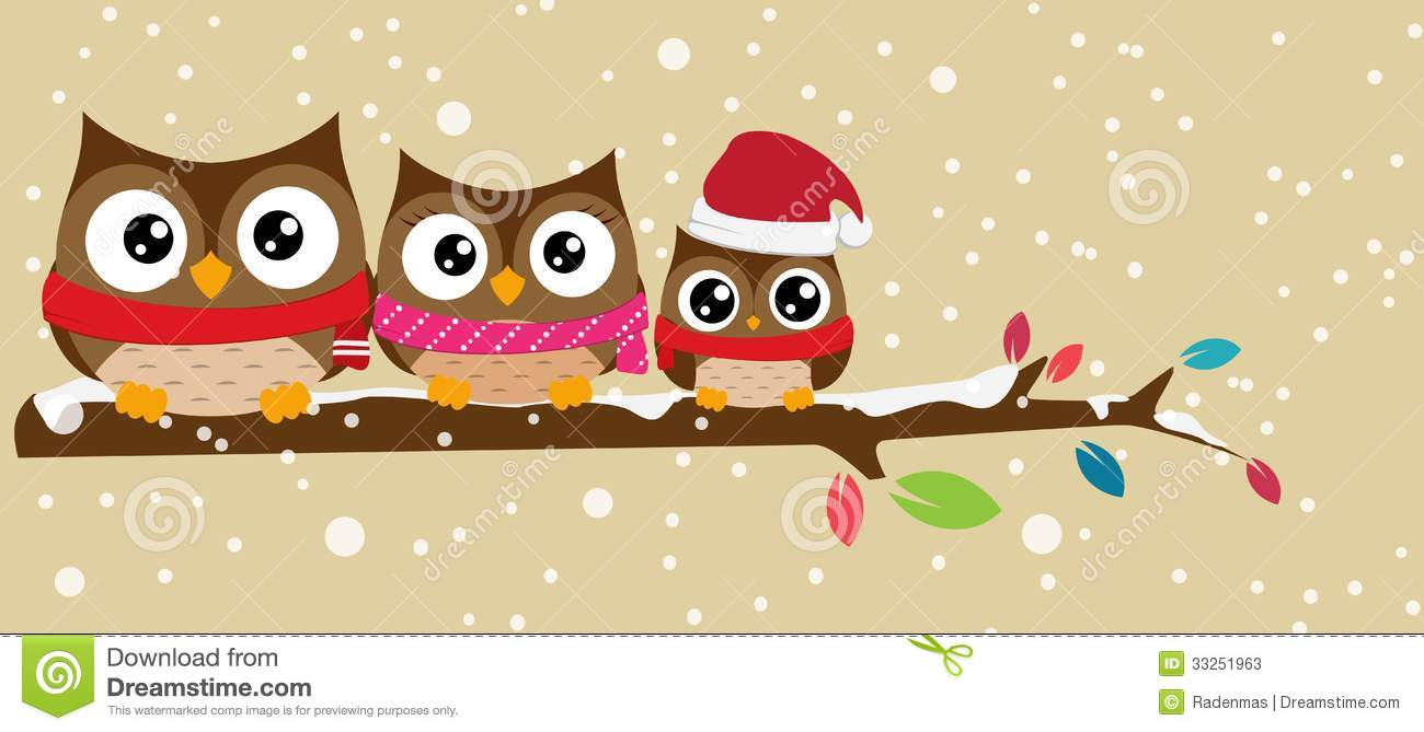 Owl Family On The Branch Christmas Banner Stock Photos - Image ...