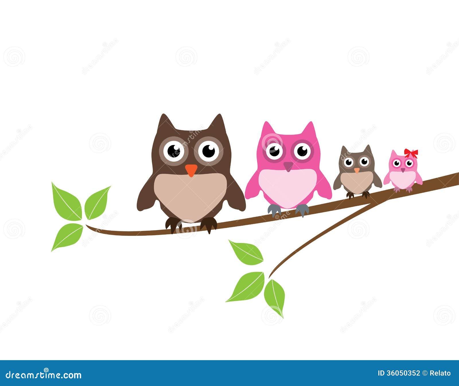 Illustration cute owl family