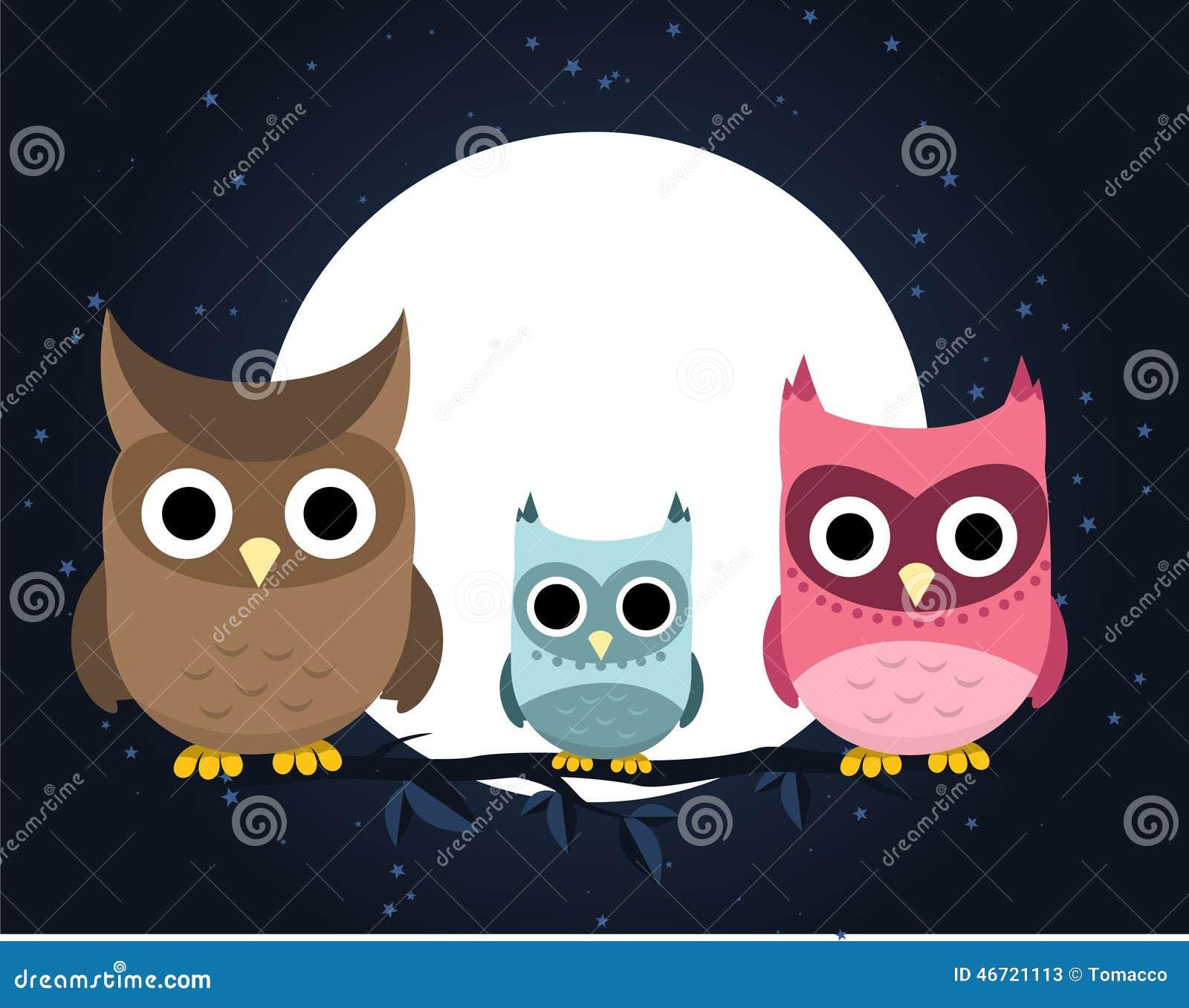 Owl Family At Night Stock Illustration Image 46721113