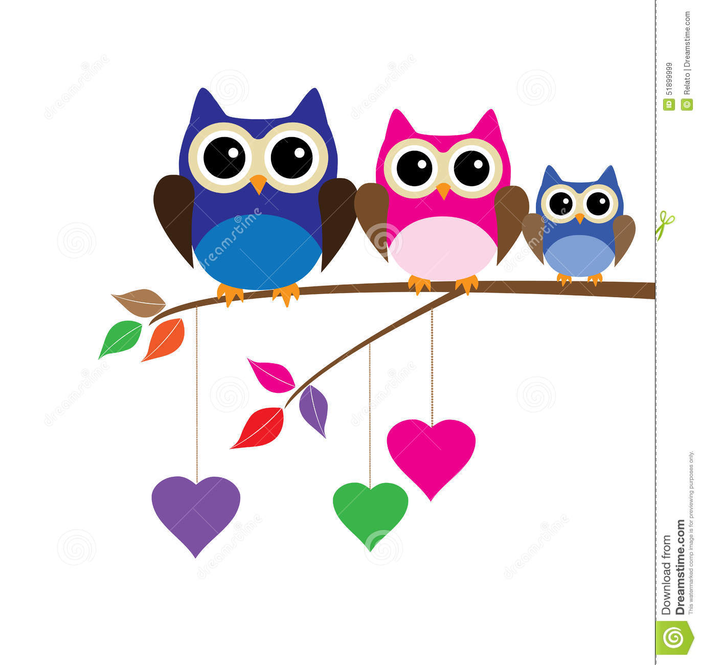 Vector funny owls sitting in the tree branch.