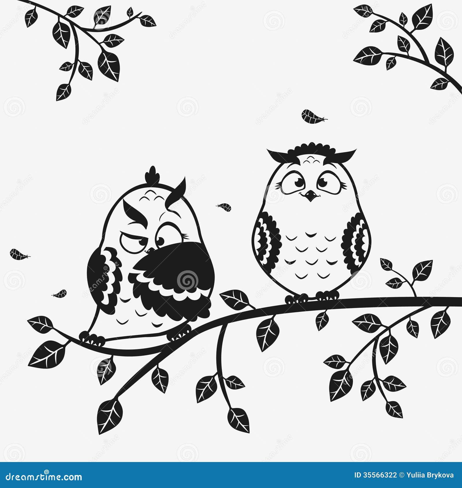 Odd Black And White Art : Owl funny stock vector illustration of monochrome black