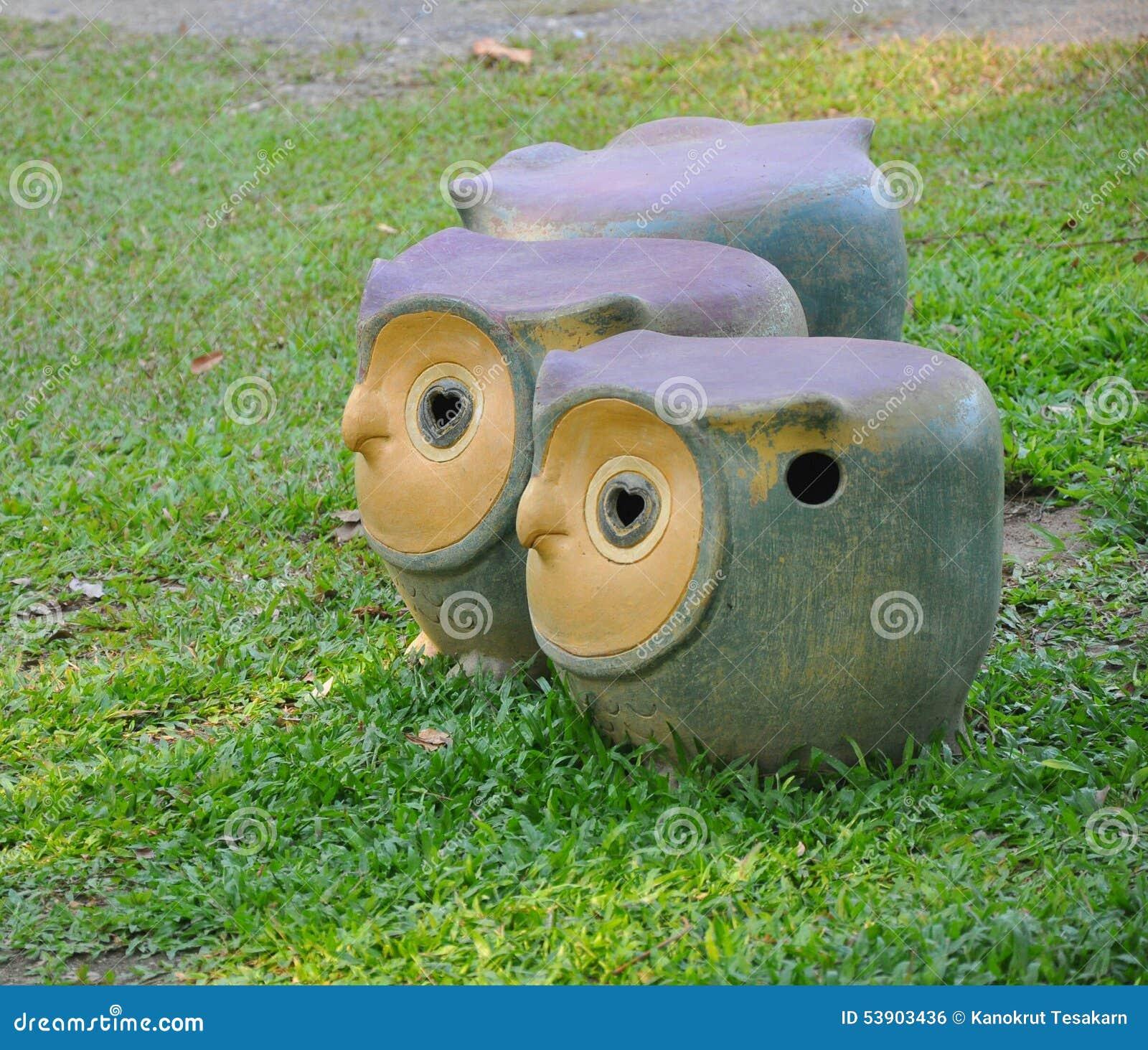 Owl Garden Stool On Green Lawn