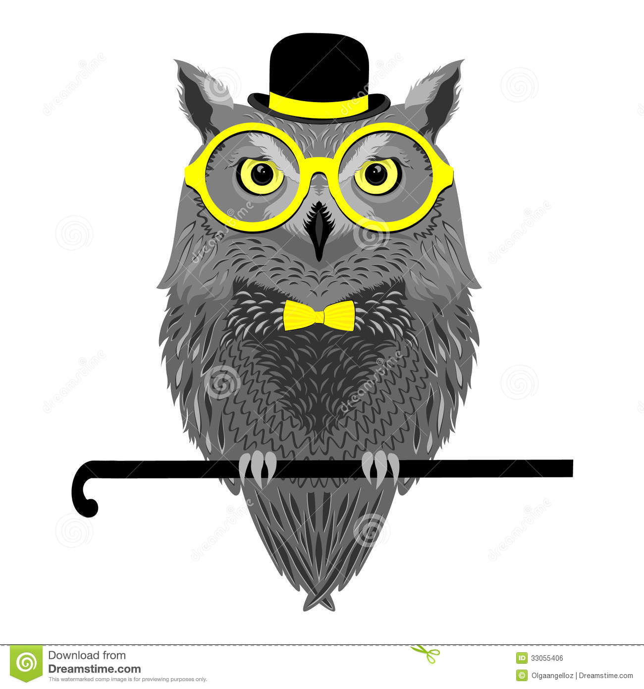 Owl In Glasses Sitting On Walking Stick Stock Vector