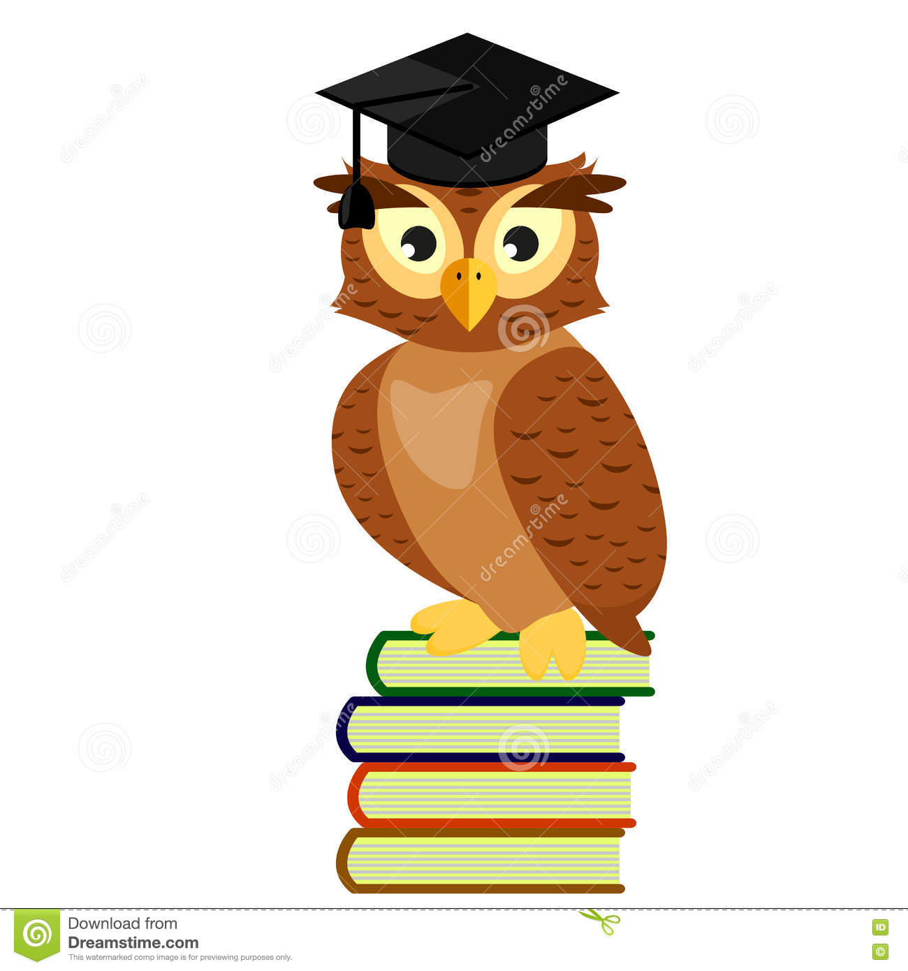 Cartoon Owl With Books Isolated On White Vector