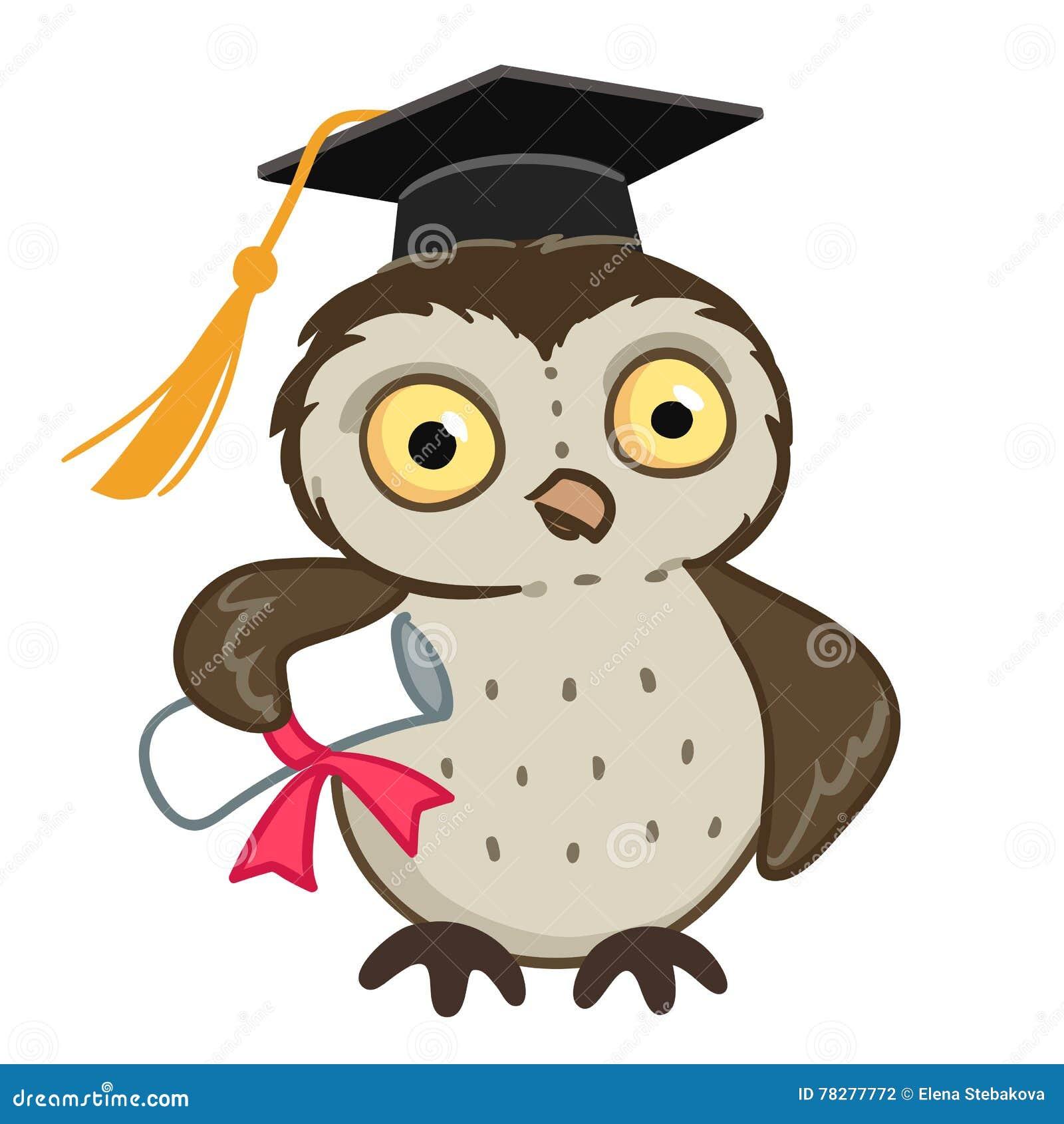 Vector hand drawn cartoon character mascot illustration of a cute owl  wearing mortarboard graduation cap 0e20b5b42d07
