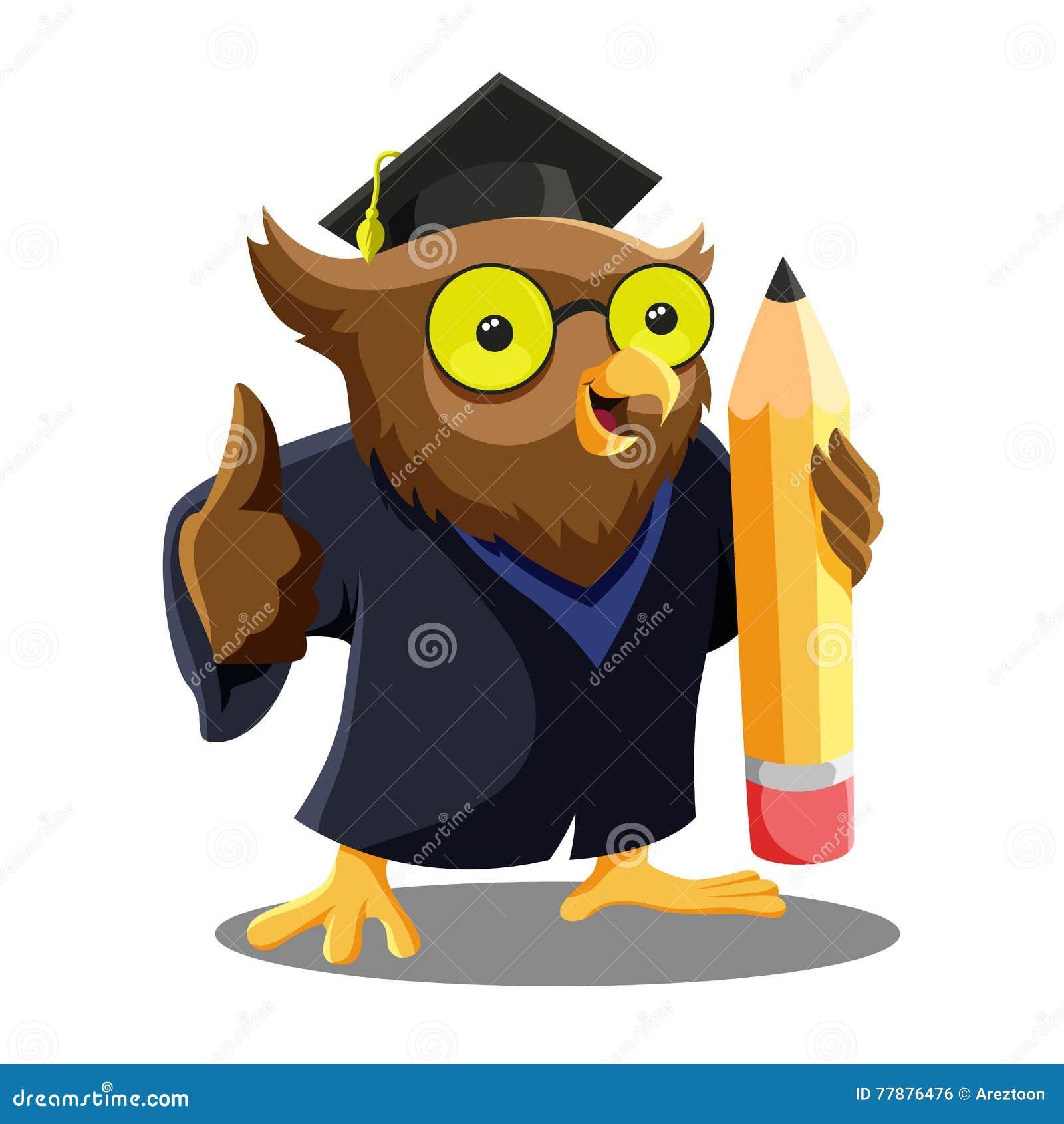 Owl Graduation Mascot Ilustración del Vector
