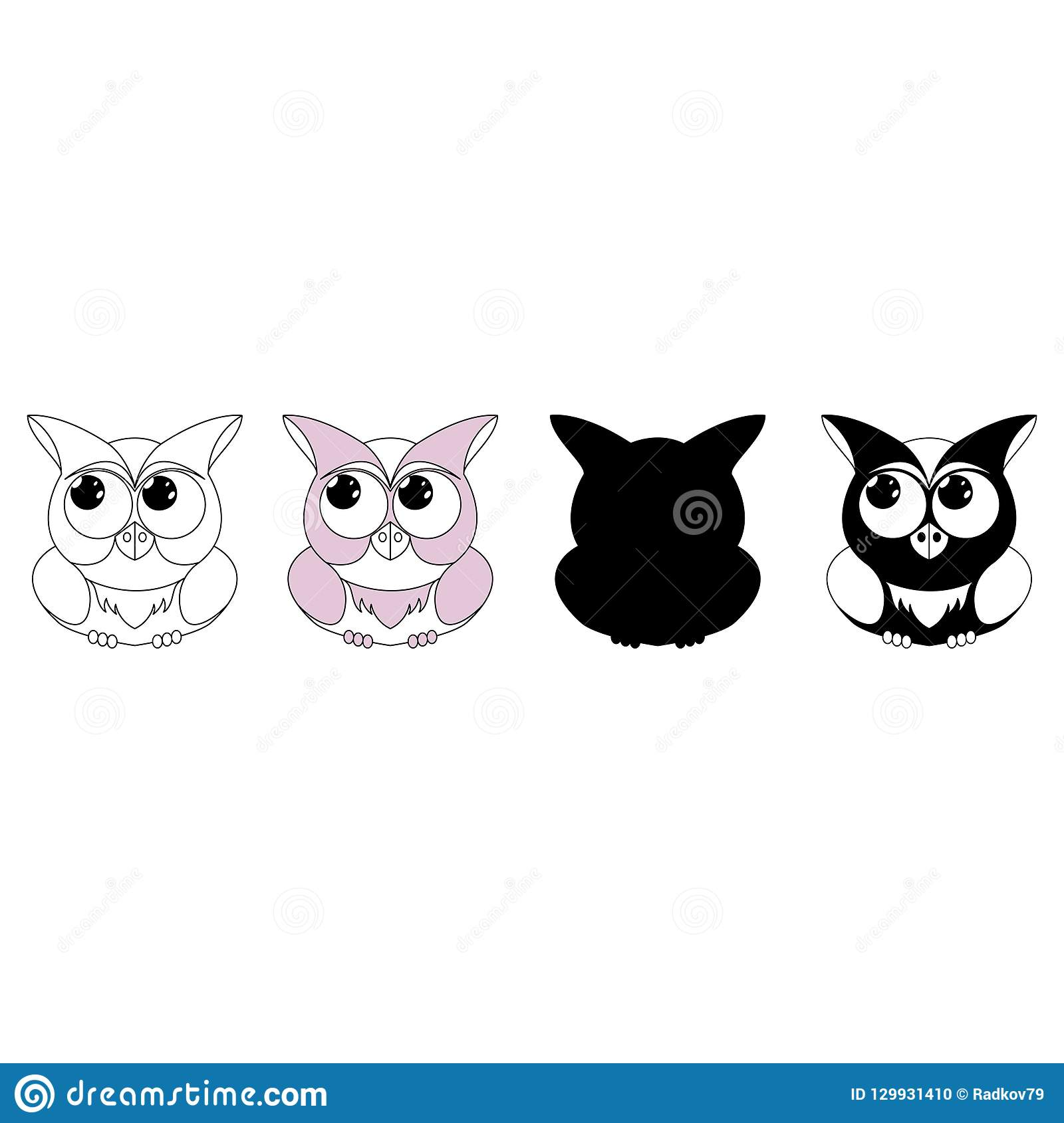 Owl gray character isolated. Vector silhouette of an owlet for decoration.