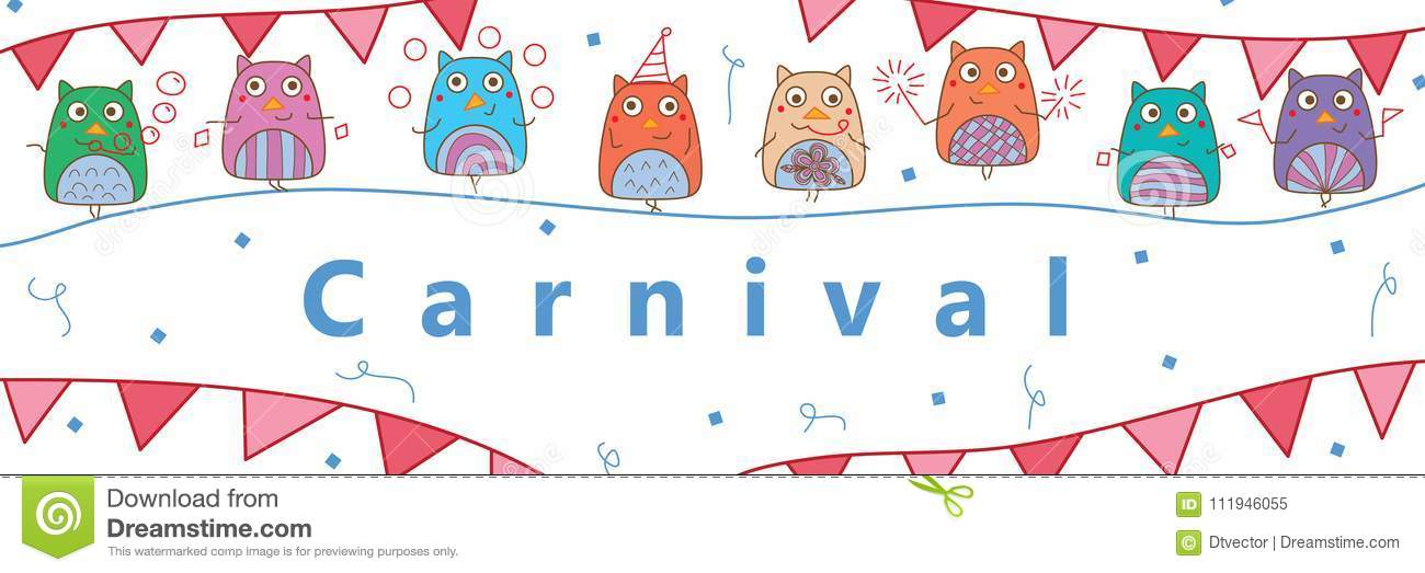 owl hand wing carnival template banner stock vector illustration