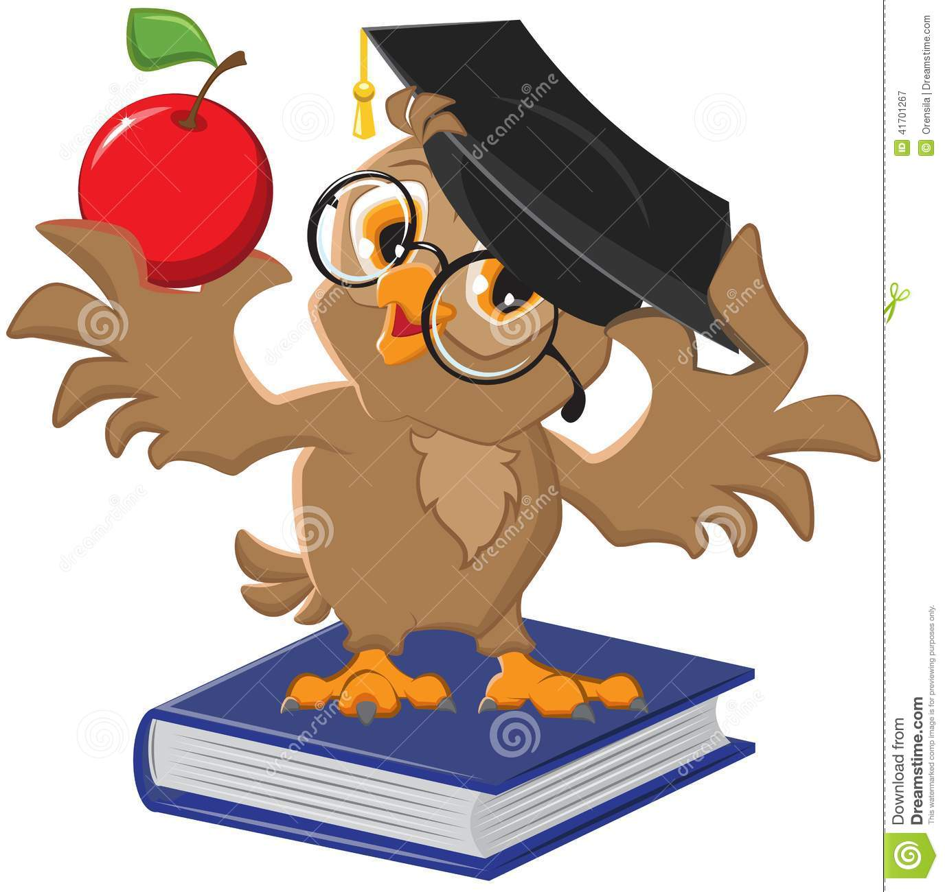 Owl Holding An Apple Stock Vector Image 41701267