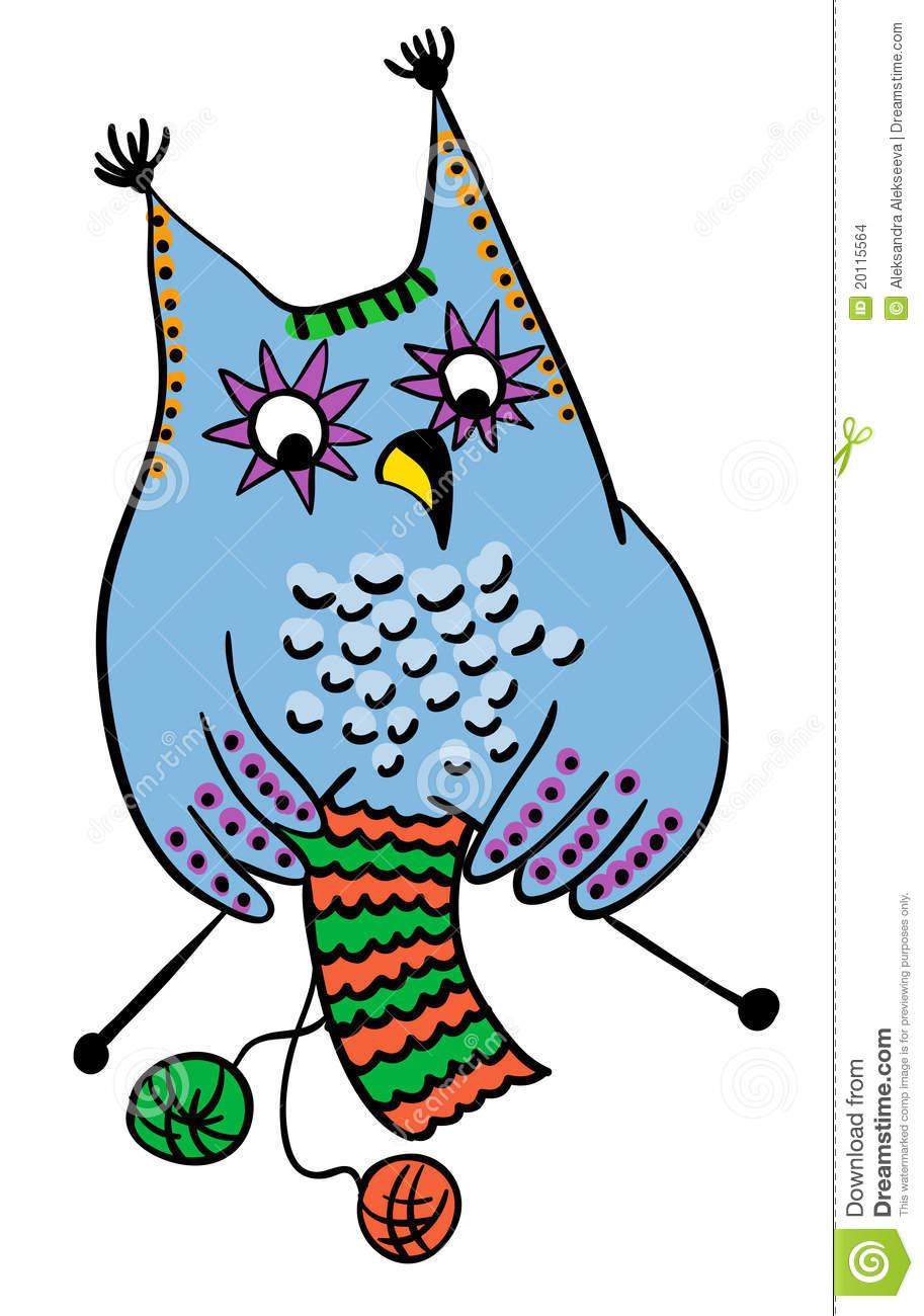 Woman Knitting Clipart : Owl knitting wool handmade concept stock images image