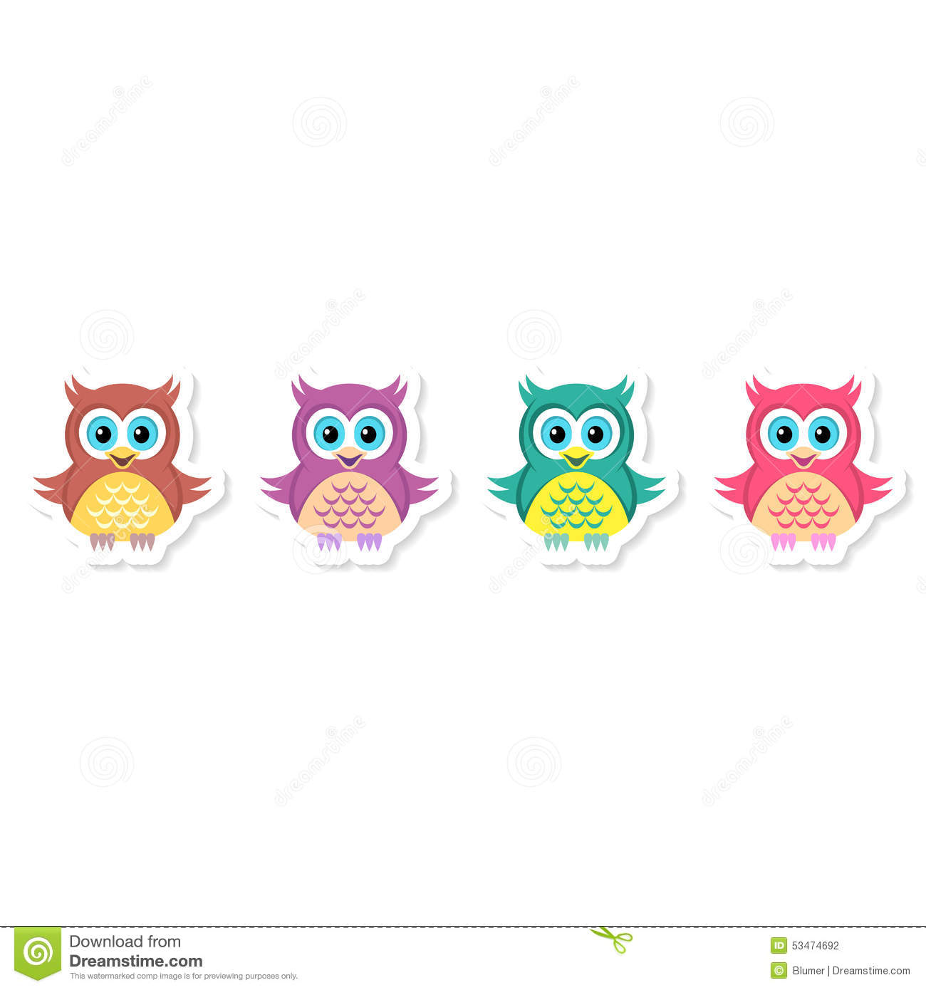 owl labels collection stock vector. illustration of green - 53474692