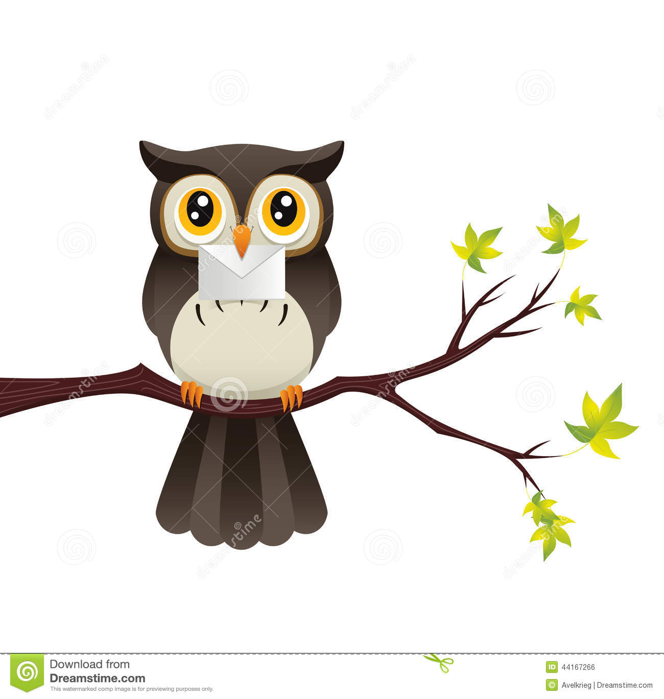 Owl With A Letter stock vector. Illustration of invitation ...