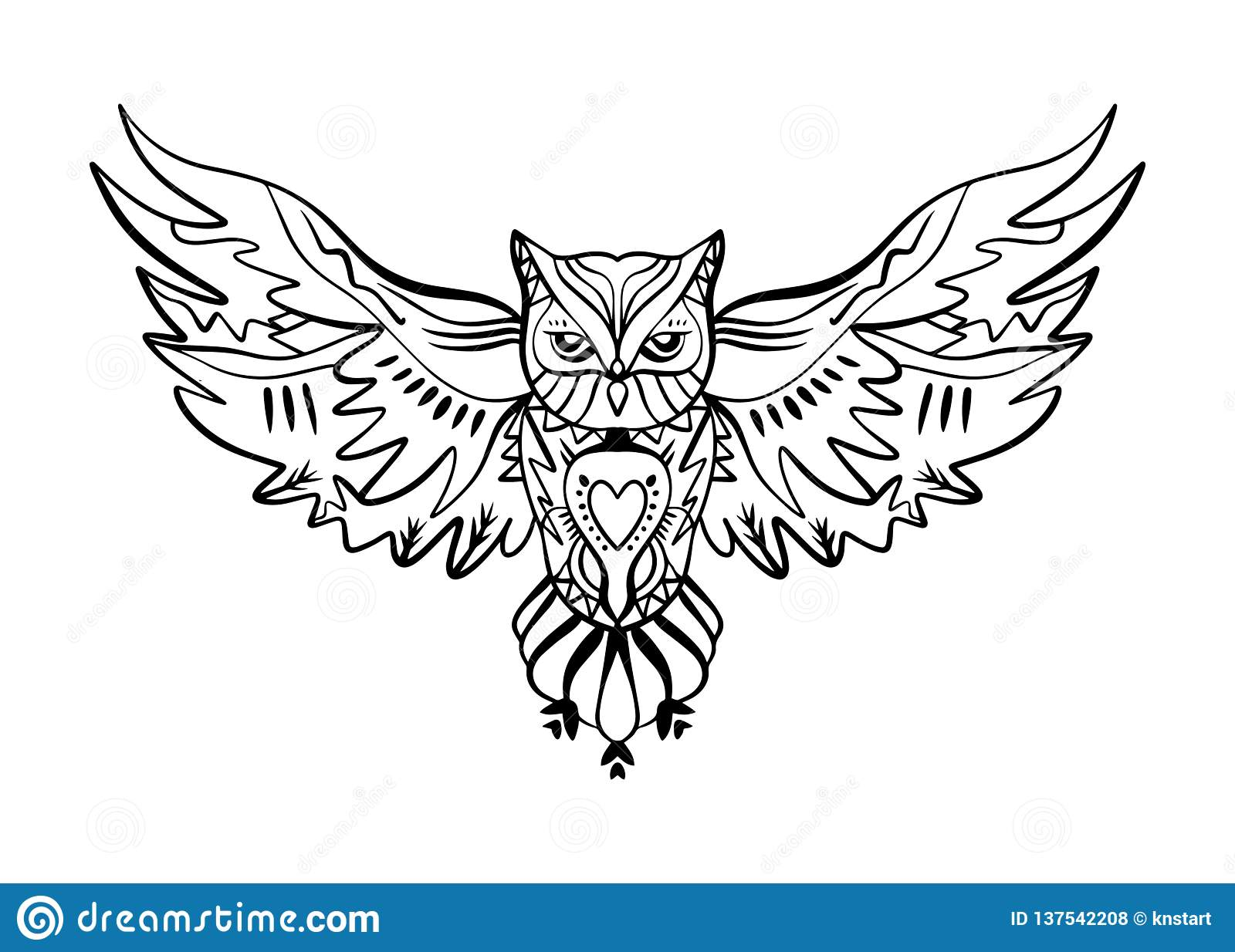 Owl Tattoo Outline Boho Tribal Style Line Ethnic Ornaments Poster