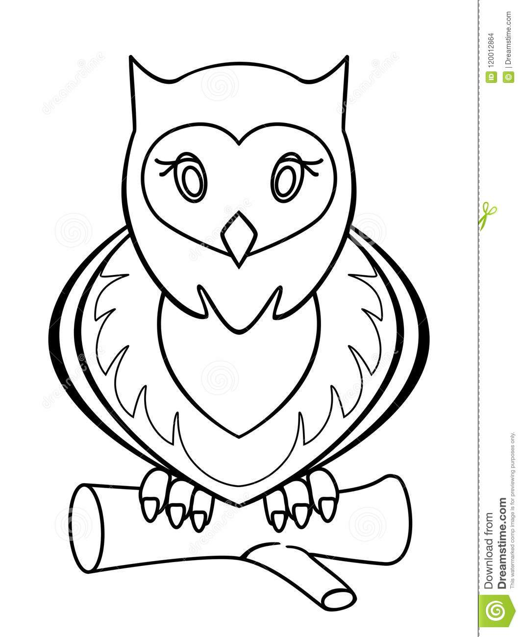 Owl. Linear Pattern For Coloring Or Children`s Book. Stock ...