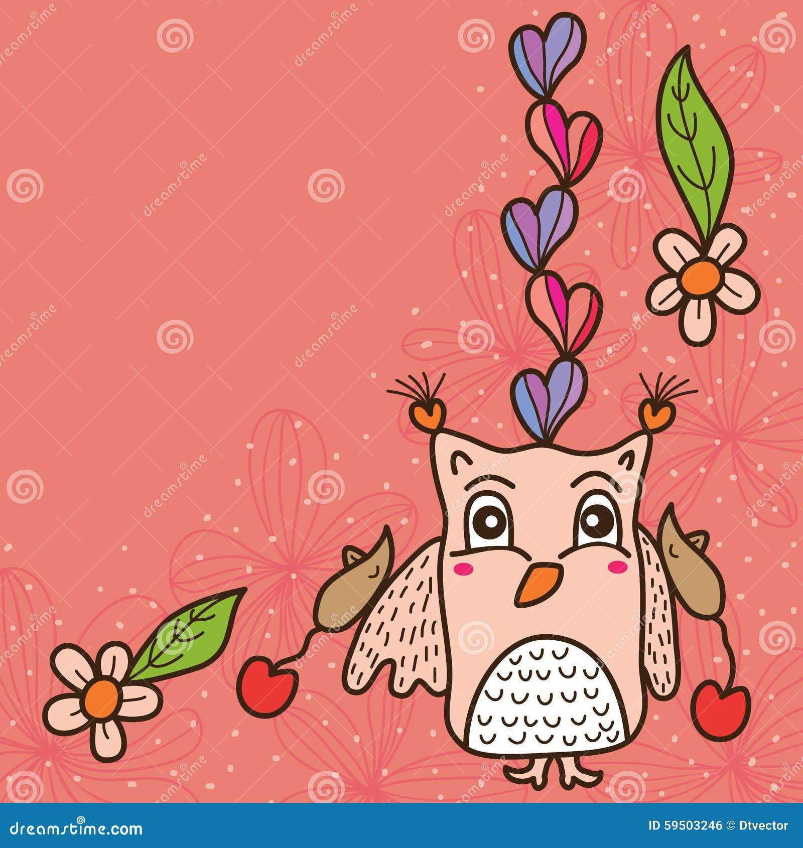 Owl Love Cute Mouse Card Stock Vector
