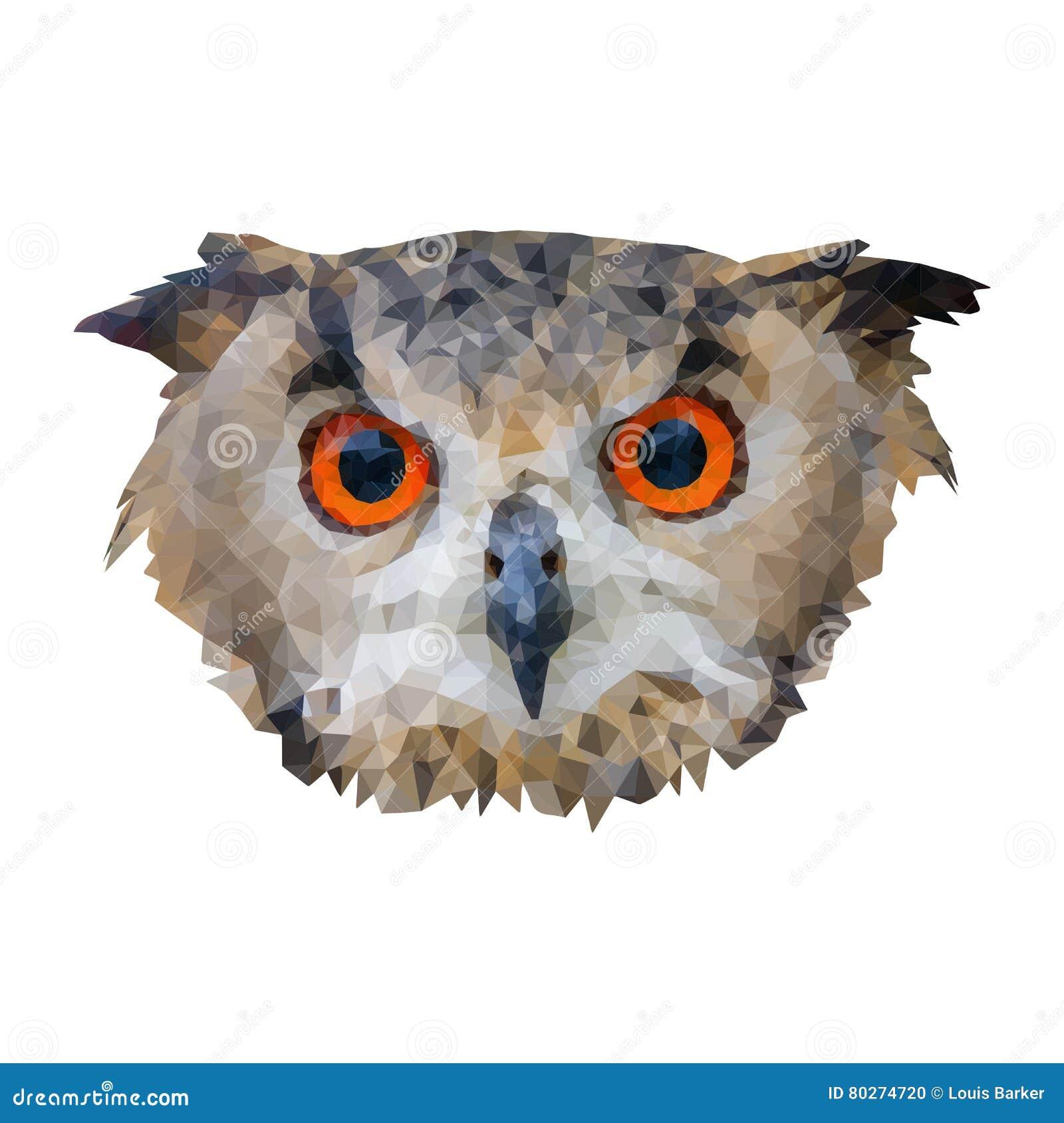 Polygon Vector Owl Head Cartoon Vector | CartoonDealer.com ...