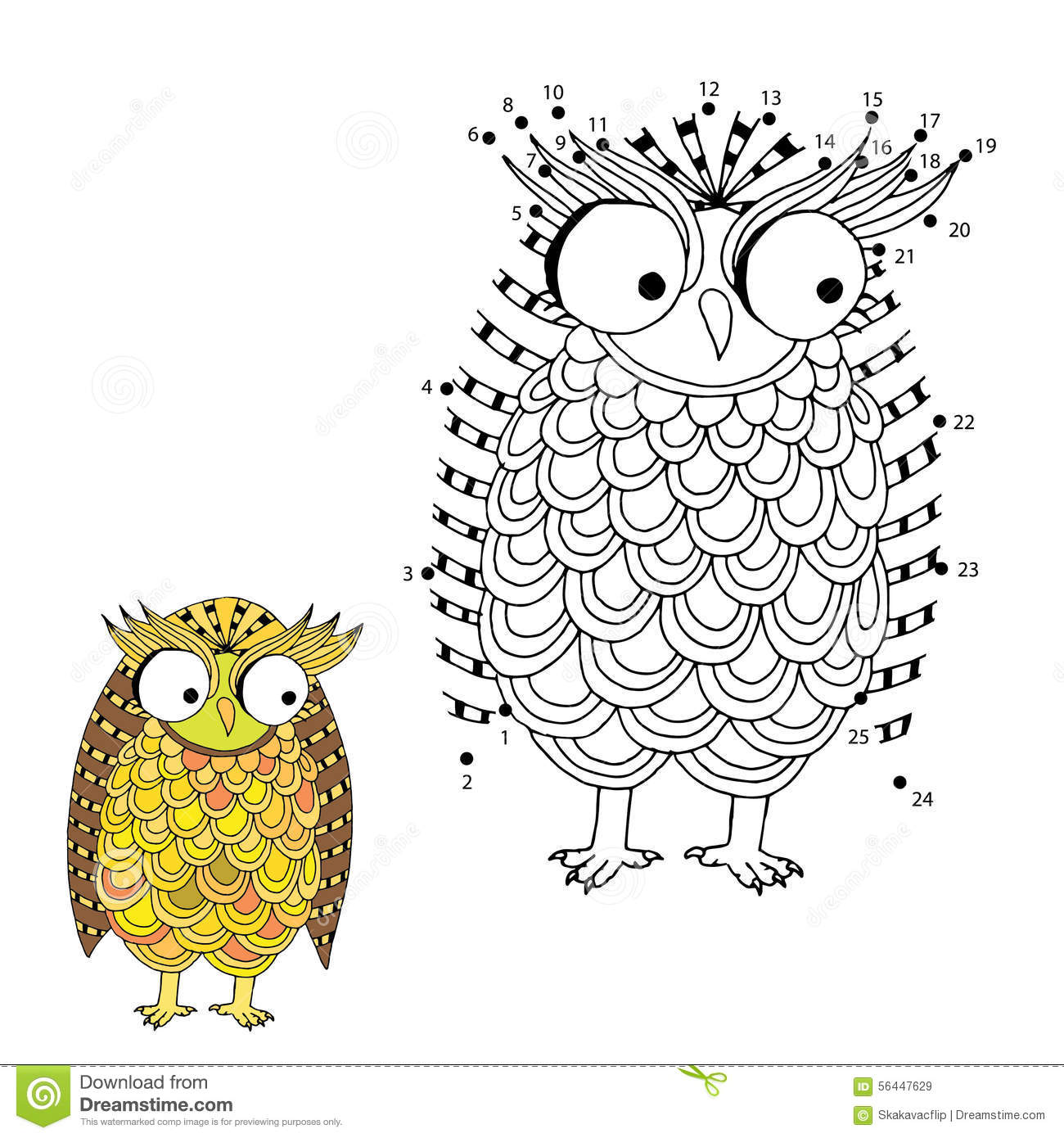 Line Art Game : Owl number game stock vector image