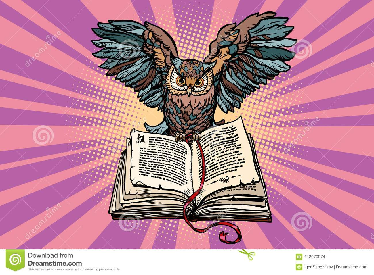 Owl On An Old Book A Symbol Of Wisdom And Knowledge Stock Vector