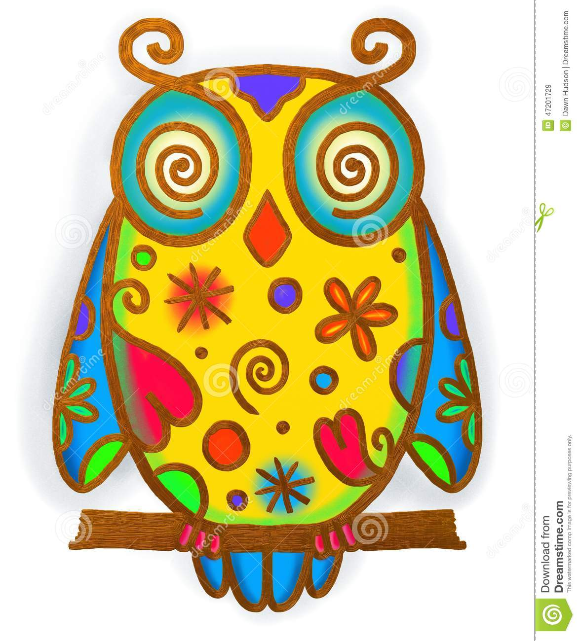 hand painted whimsical doodle style illustration of a owl with ...