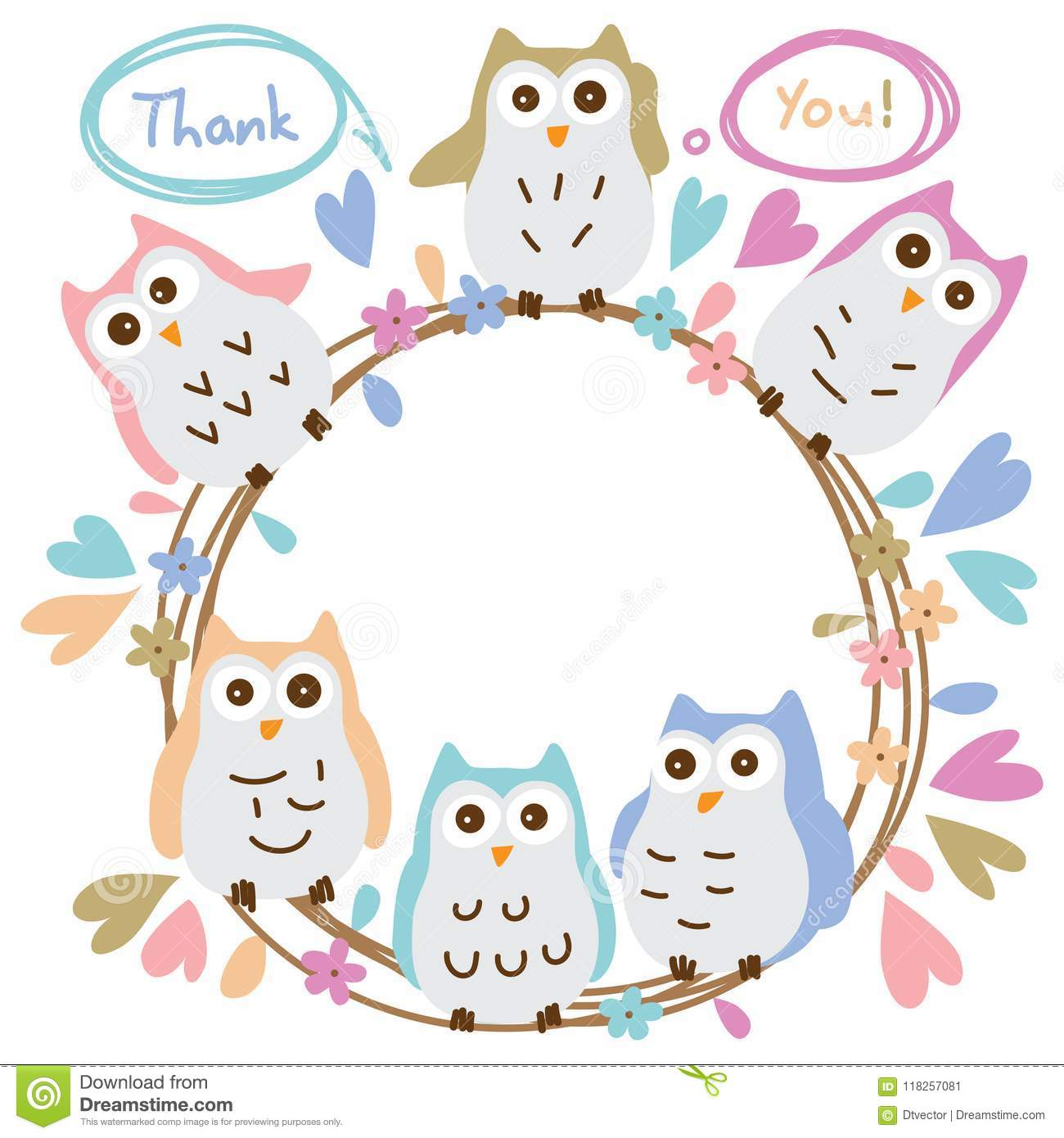 Owl Pastel Colorful Circle Thank You Template Card Stock ...