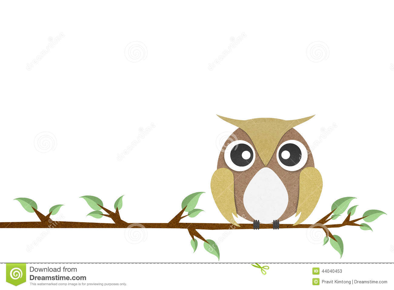 Owl perched paper craft on paper background stock illustration owl perched paper craft on paper background jeuxipadfo Choice Image
