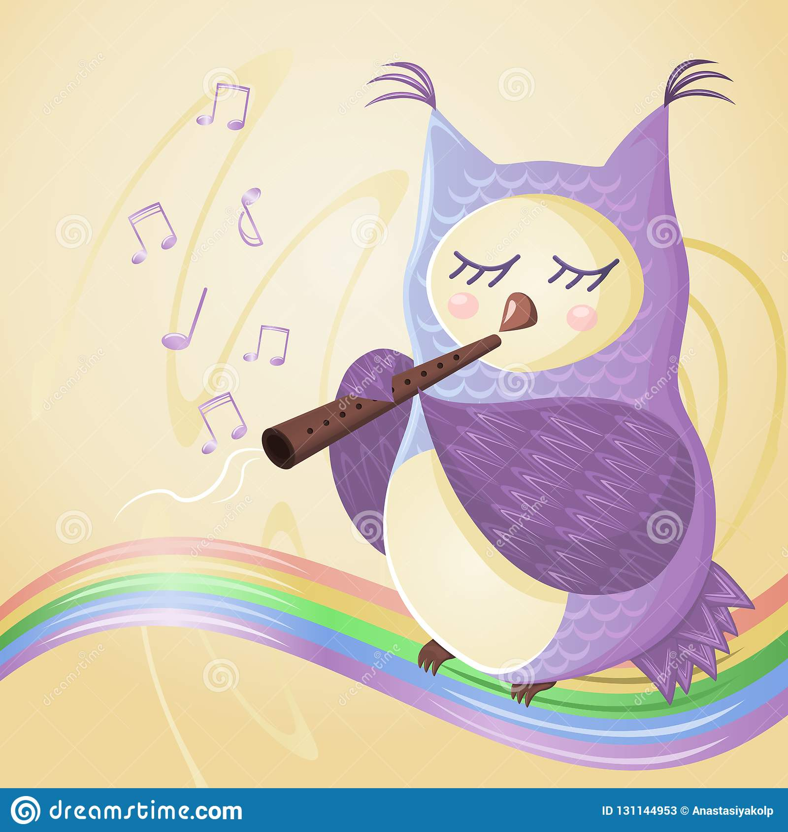 Owl play the flute on the rainbow, musical notes fly around her