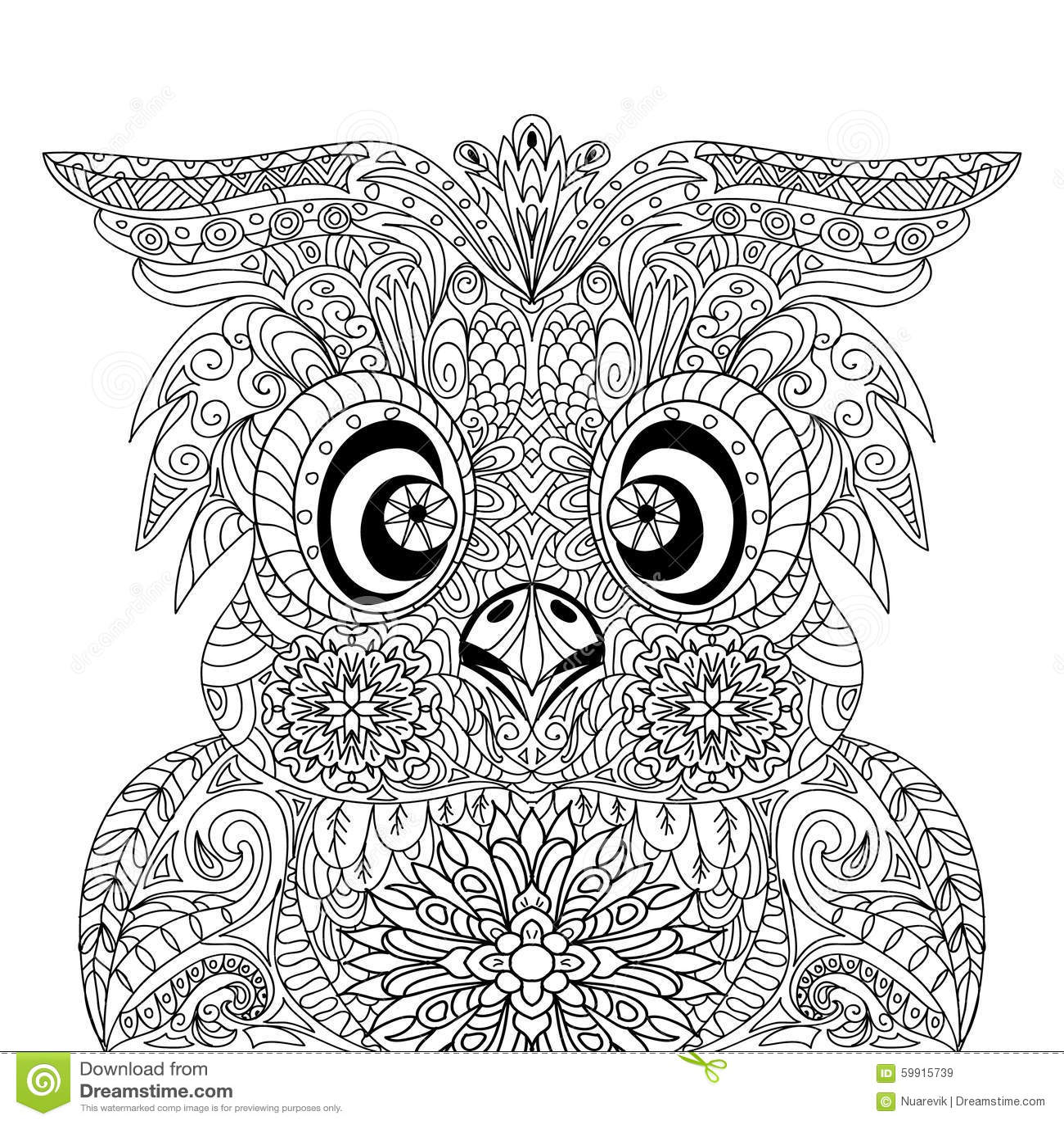 Kleurplaat Mandela Paarden Owl Portrait Mandala Zentangle Stock Abbildung